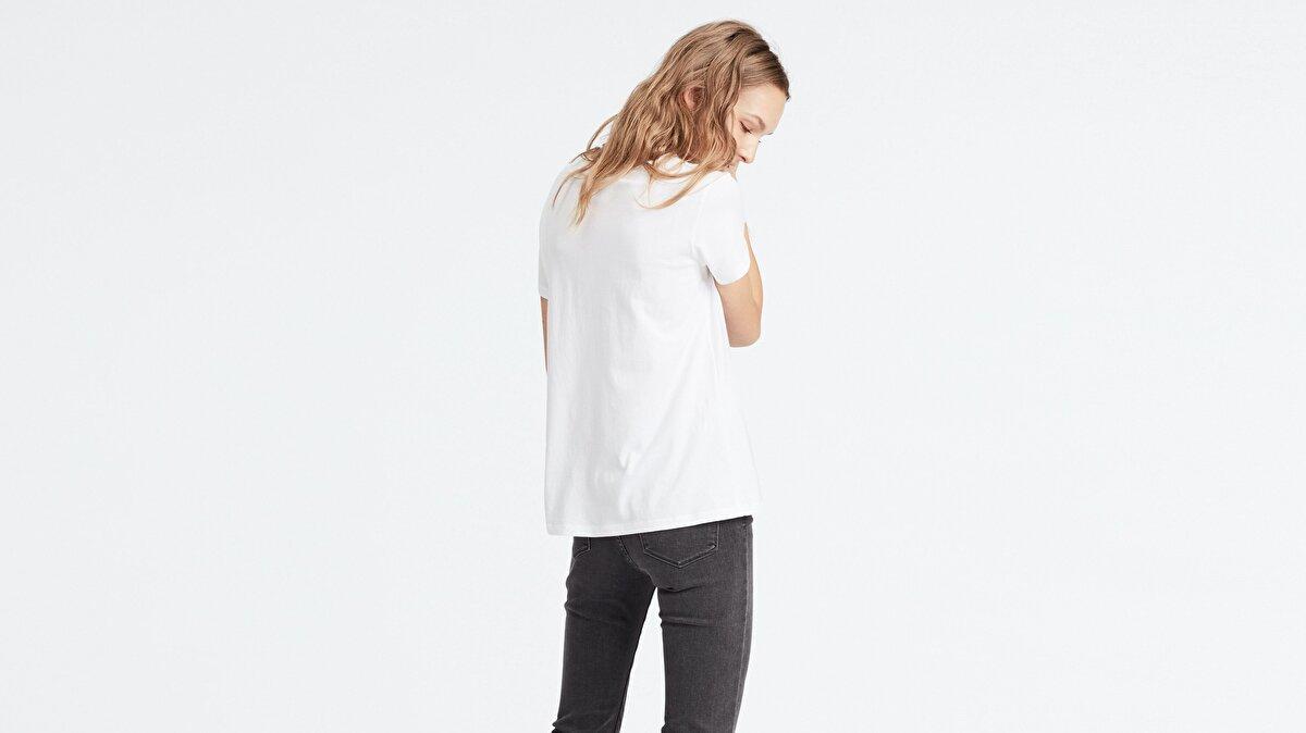 Levi's® The Perfect Tee Feminine Logo White Gra Kadın Beyaz T-Shirt