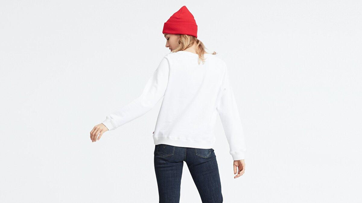 Levi's® Relaxed Graphic Crew Feminine Logo Crew Kadın Beyaz Sweatshirt