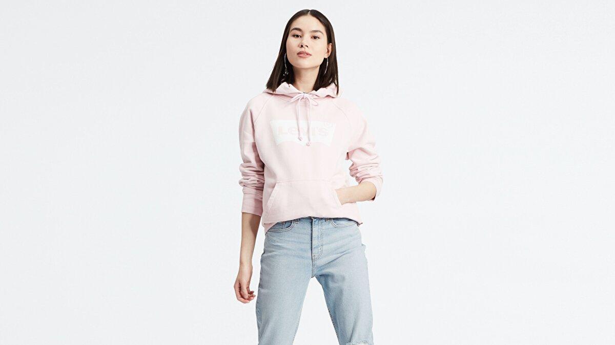 Levi's® Graphic Sport Hoodie HSMK Hoodie Pink L Kadın Kapüşonlu Pembe Sweatshirt
