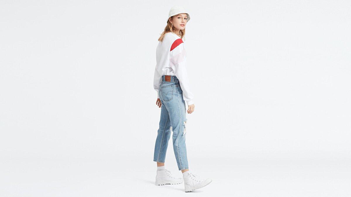 Levi's® 501 Crop Montgomery Patched Kadın Jean Pantolon Açık Mavi
