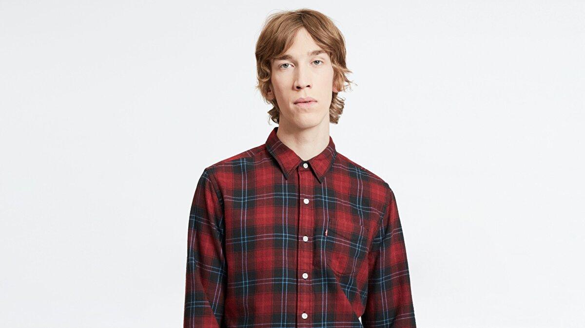 Levi's® Sunset 1 Pocket Shirt Cummings Graphite Erkek Kareli Kırmızı Gömlek