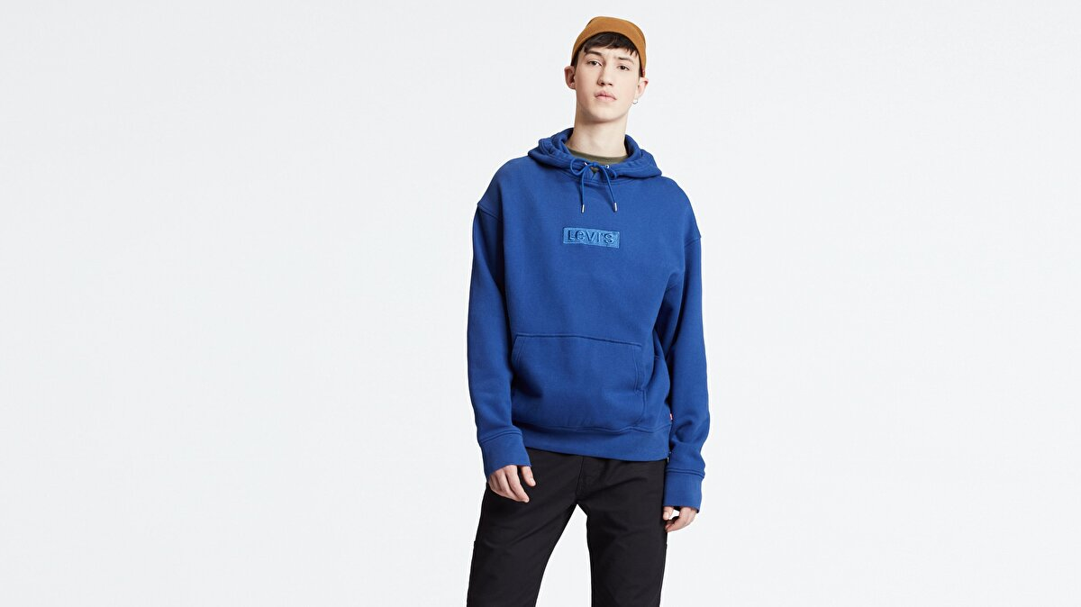 Levi's® Relaxed Graphic Hoodie SSNL Babytab Tec Erkek Kapüşonlu Mavi Sweatshirt