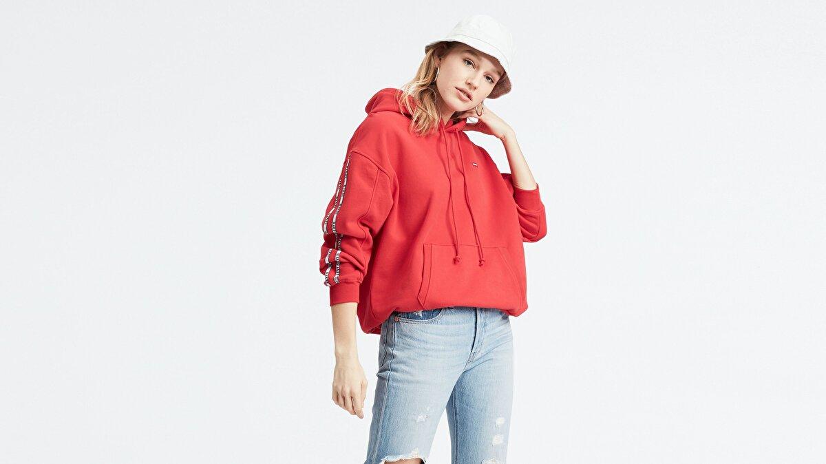 Levi's® Unbasic Hoodie Brilliant Red Kadın Kapüşonlu Kırmızı Sweatshirt