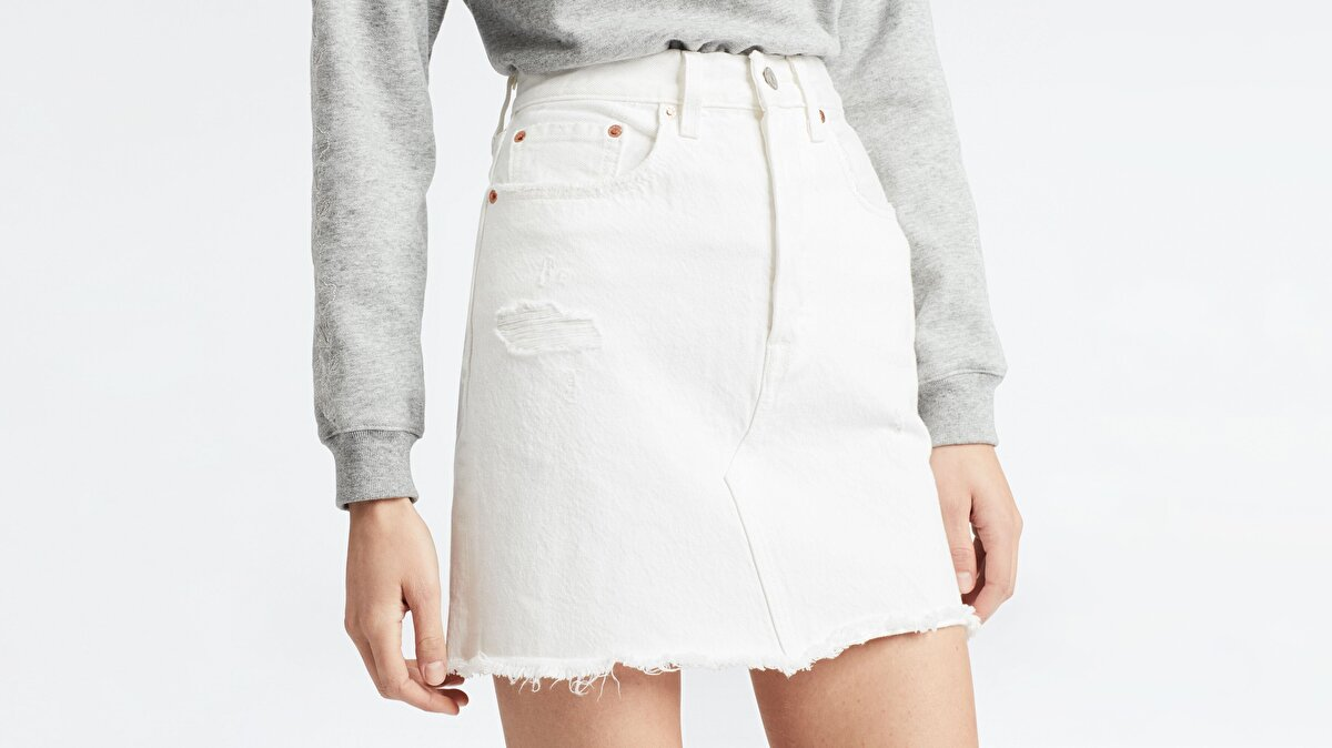 Levi's® HR Decon Iconic BF Skirt Pearly White Beyaz Jean Etek