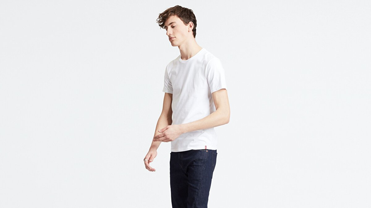 Levi's® Slim 2PK Crewneck 1 Twopack Tee White Erkek İkili Beyaz T-Shirt