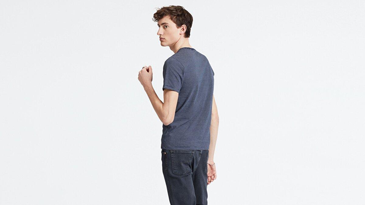 Levi's® Slim 2PK Crewneck 1 2 Pack White + Blue Erkek İkili Çizgili T-Shirt