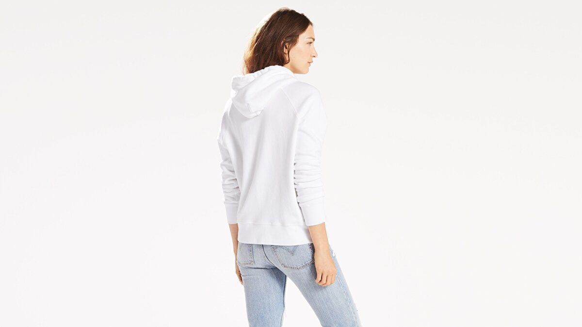 Levi's® Graphic Sport Hoodie Housemark Hoodie W Kadın Kapüşonlu Beyaz Sweatshirt