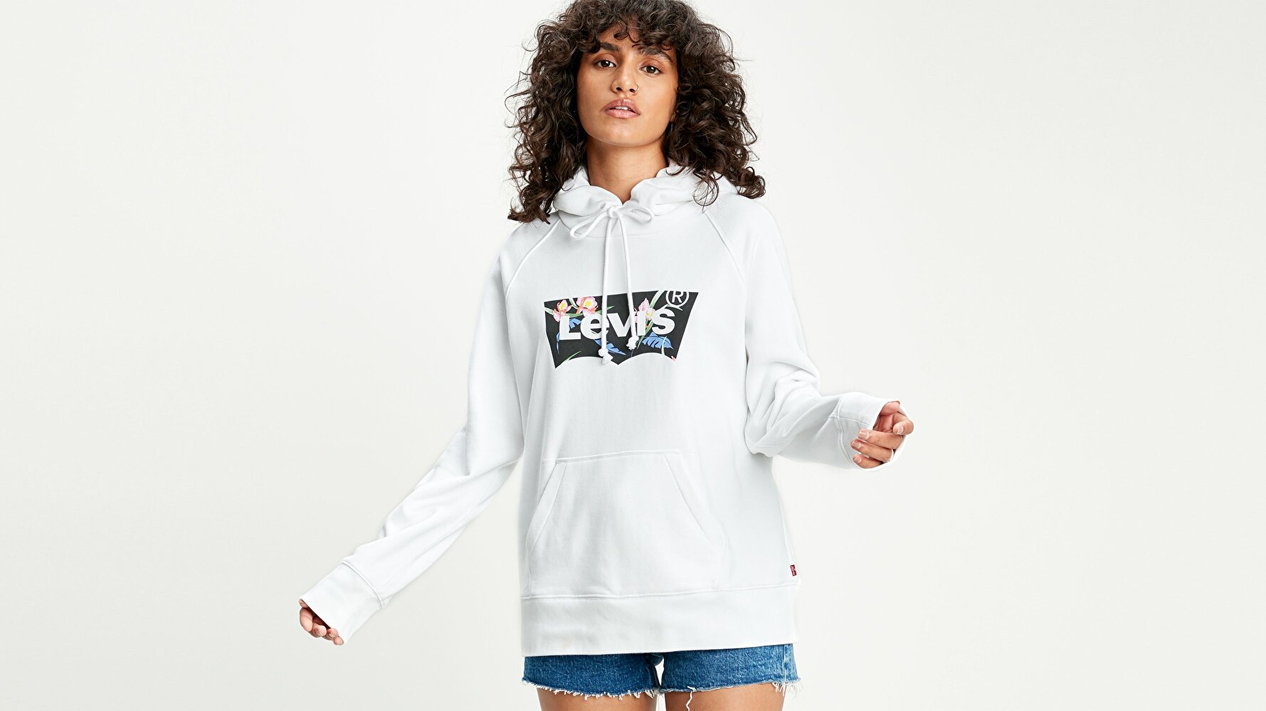 Graphic Sport Hoodie Hoodie Filled T2 Beyaz Kadın Kapüşonlu Sweatshirt