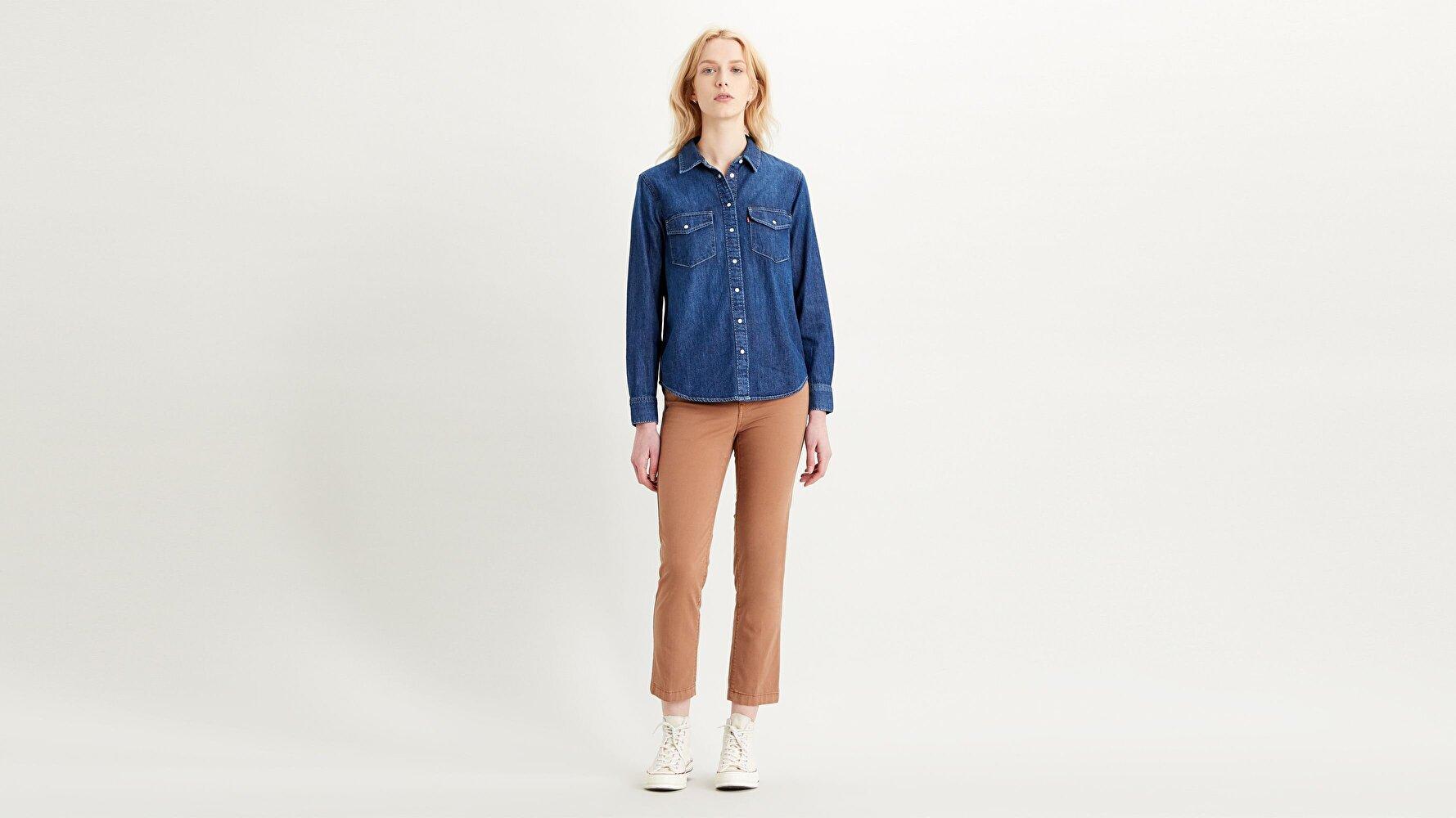 724 Yüksek Bel Düz Kesim Cropped Kadın Jean Pantolon-Soft Canvas Toasted Coconut