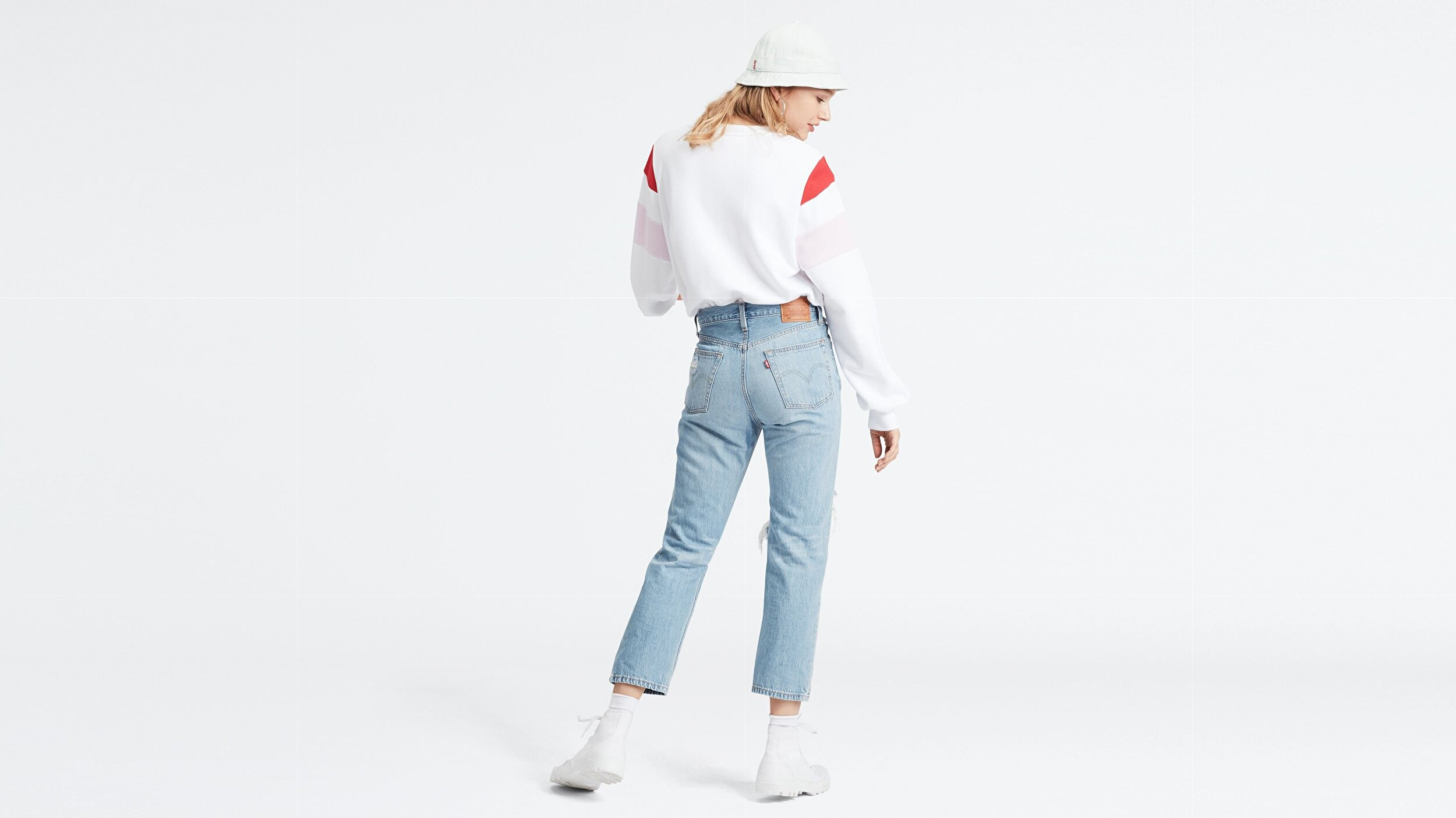 501® Kadın Crop Jean Pantolon-Montgomery Patched