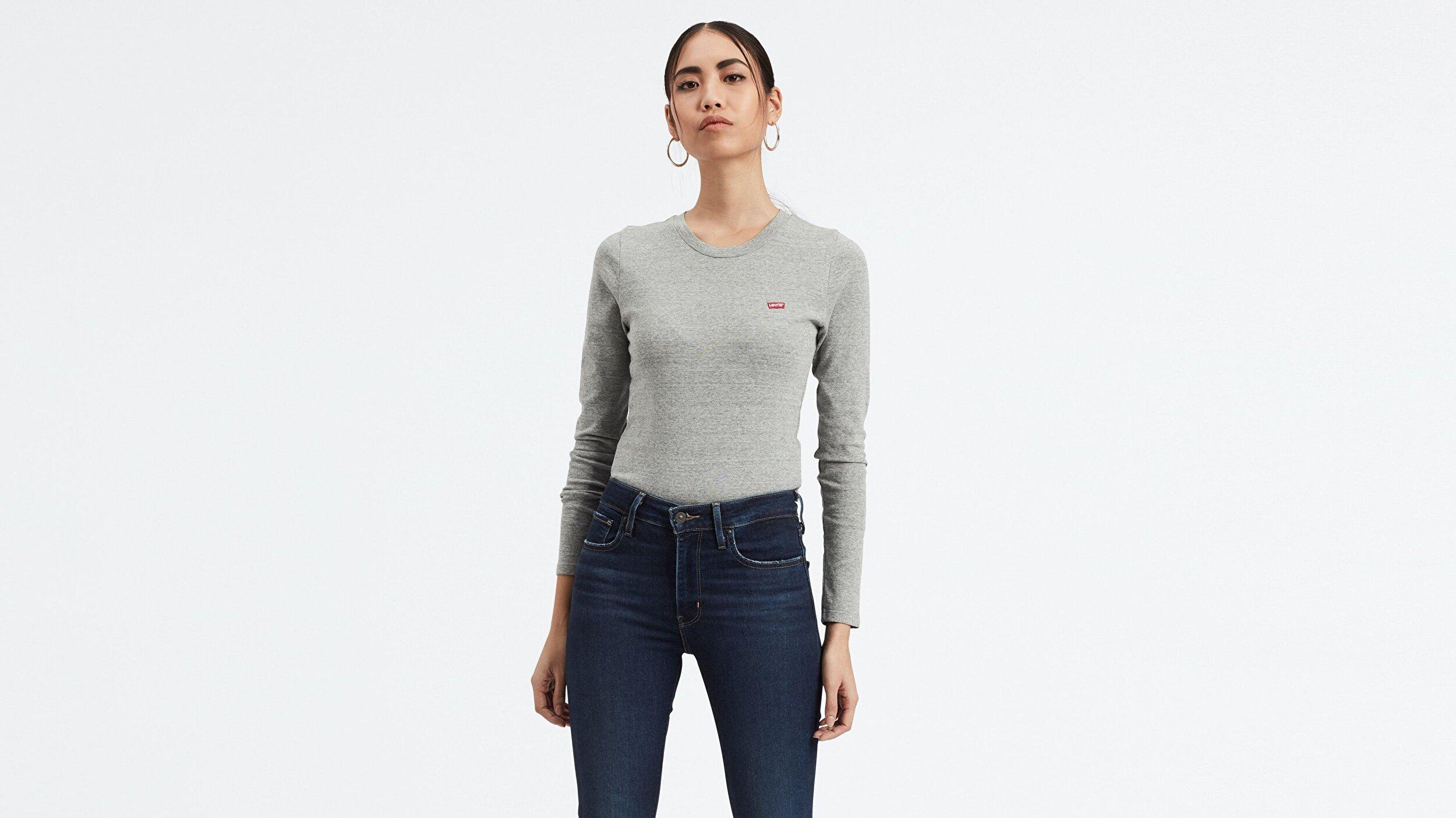 Ls Baby Tee Smokestack Heather Gri Kadın Sweatshirt