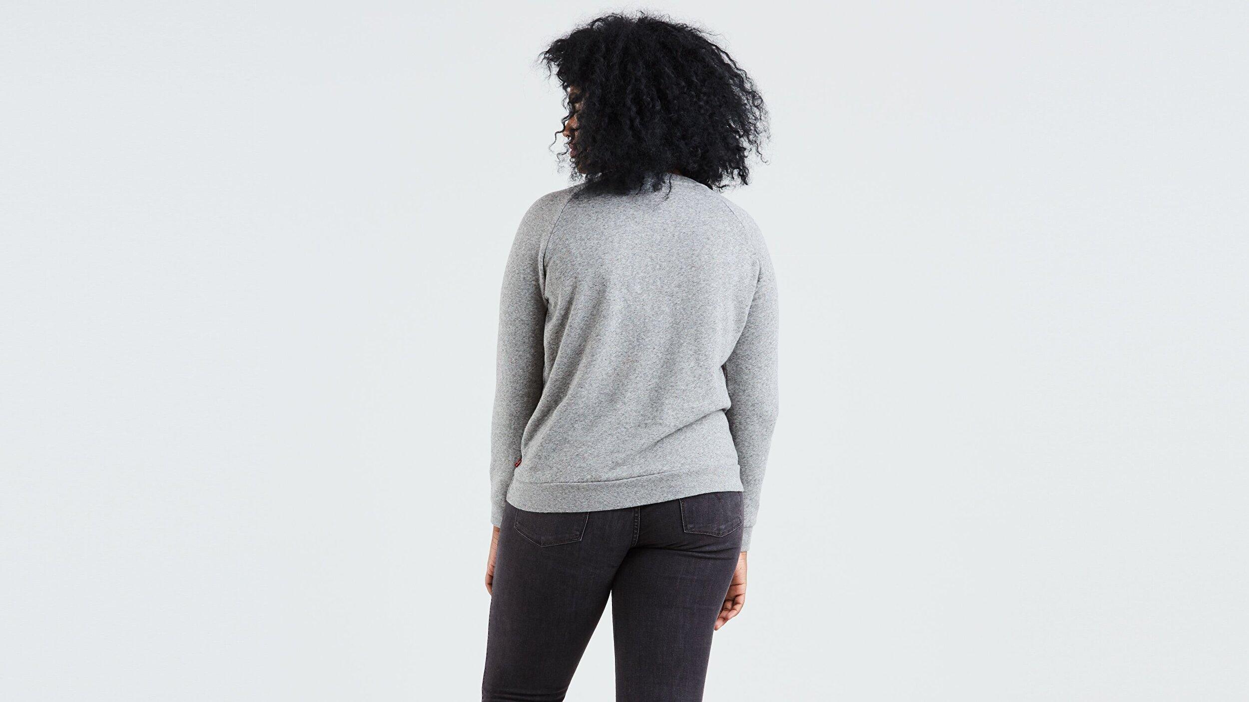 Relaxed Graphic Crew Fleece Batwing Açık Gri Kadın Sweatshirt