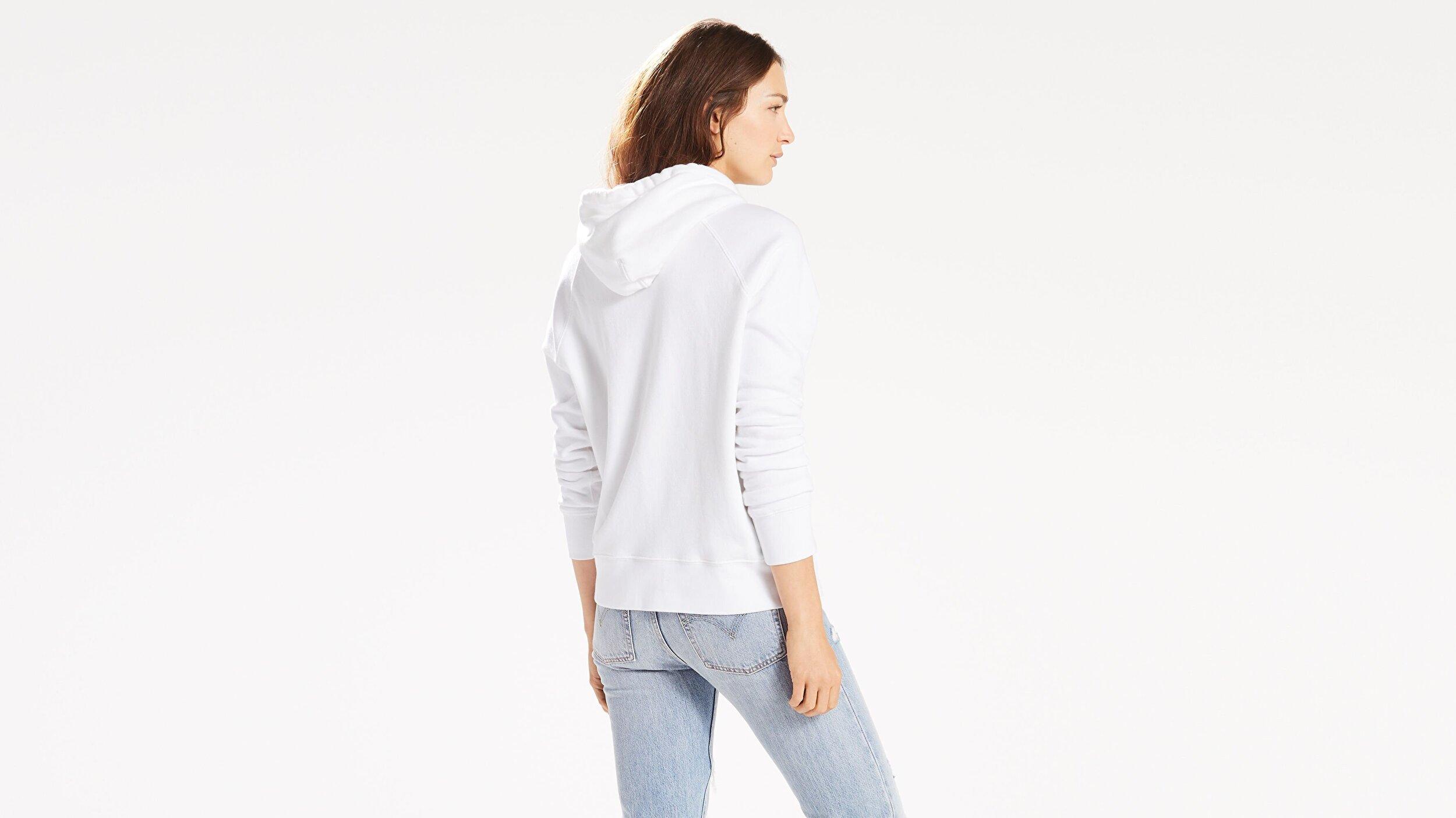Graphic Sport Hoodie Housemark Hoodie Beyaz Kadın Kapüşonlu Sweatshirt