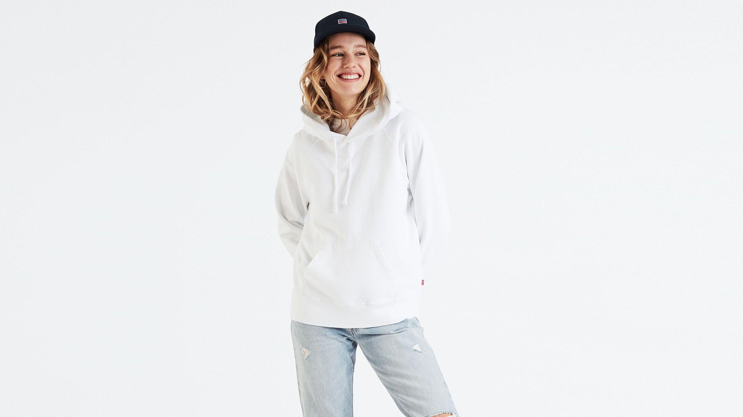 Graphic Sport Hoodie Customization Hoodie Beyaz Kadın Kapüşonlu Sweatshirt