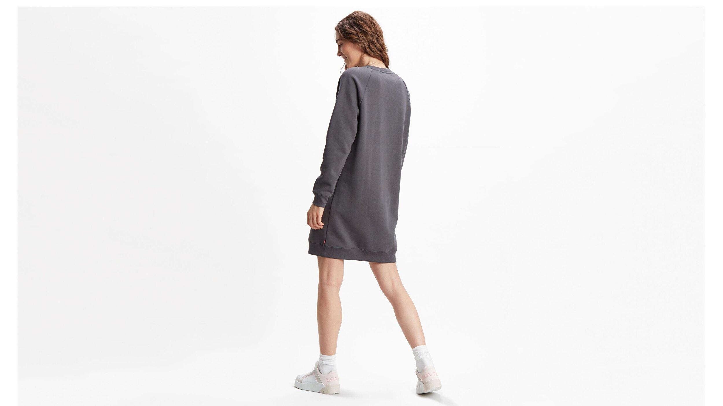 Crew Sweatshirt Dress Crew Dress Siyah Kadın Elbise