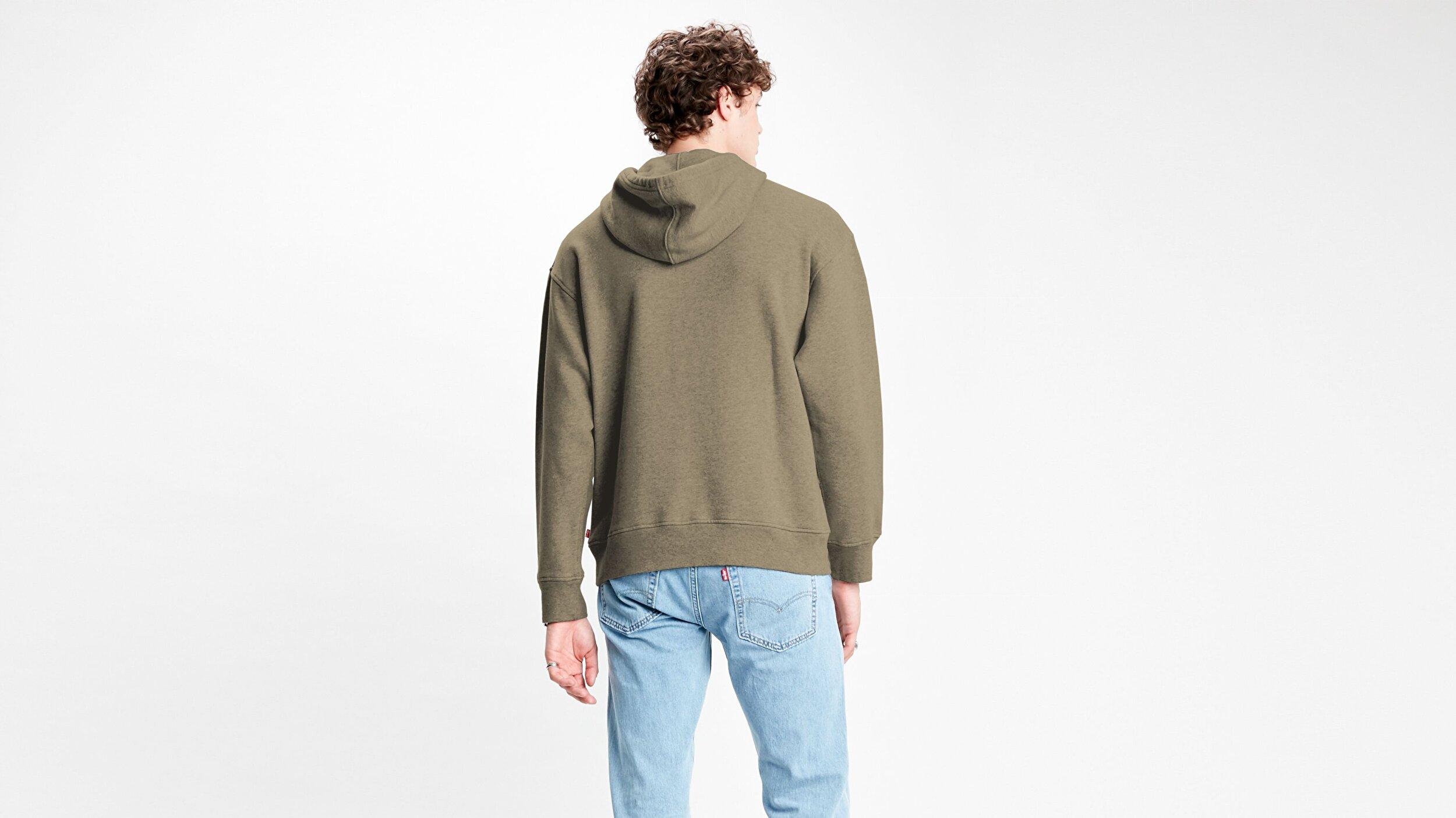 Relaxed Graphic Hoodie Ssnl Serif Beyaz Erkek Kapüşonlu Sweatshirt