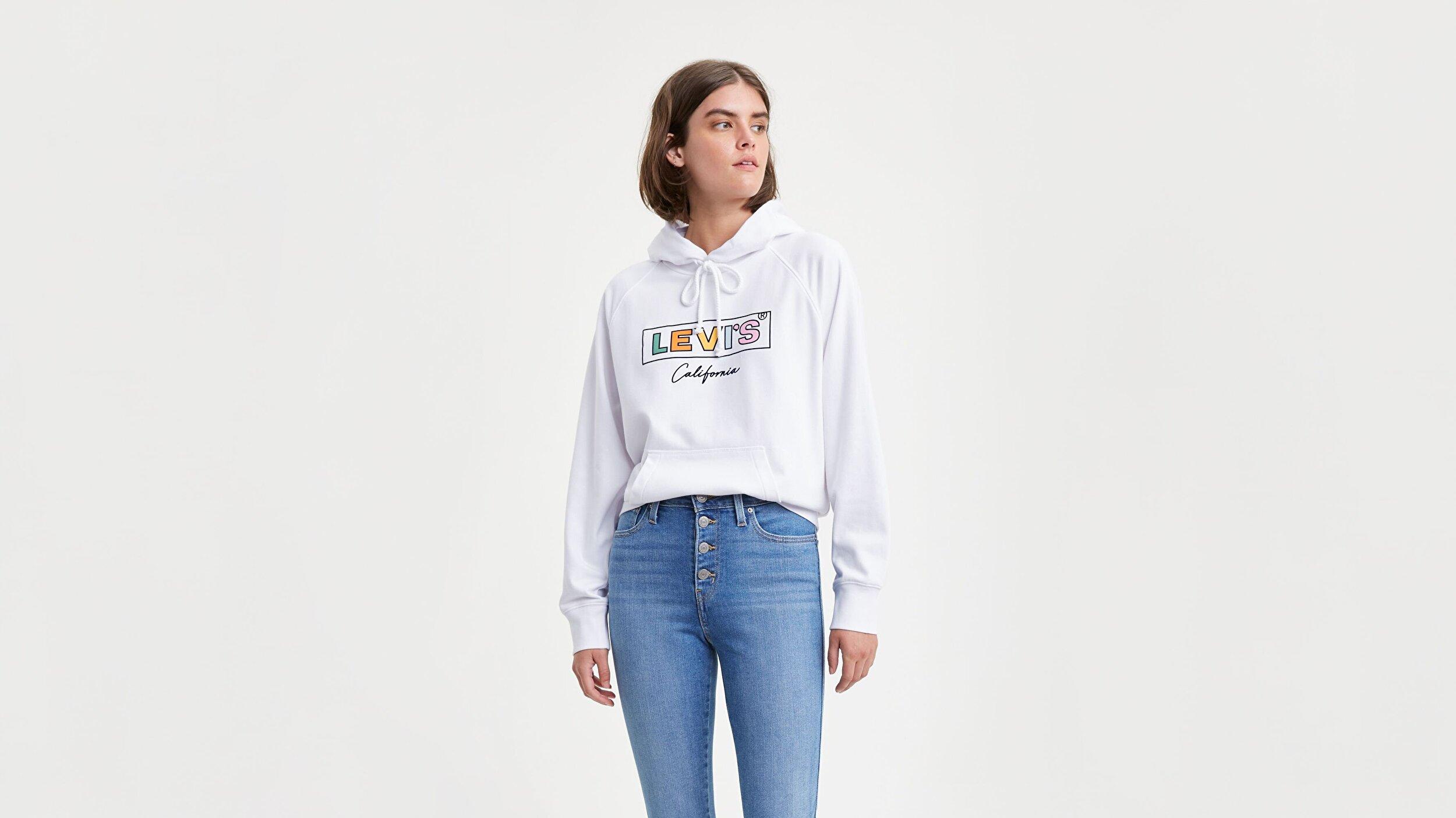 Graphic Sport Hoodie Hoodie Cali Beyaz Kadın Kapüşonlu Sweatshirt