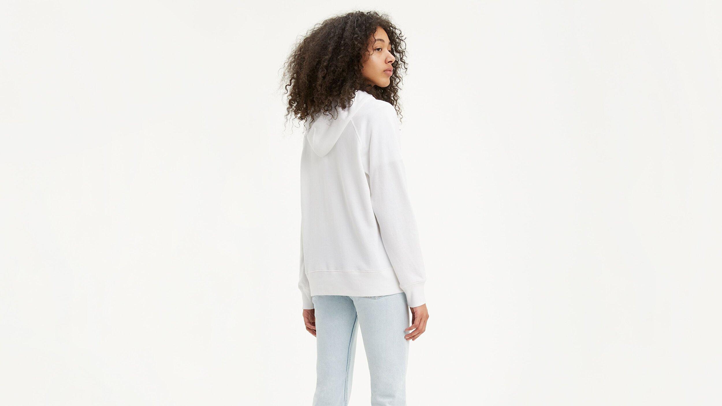 Graphic Sport Hoodie Hoodie Filled Beyaz Kadın Kapüşonlu Sweatshirt