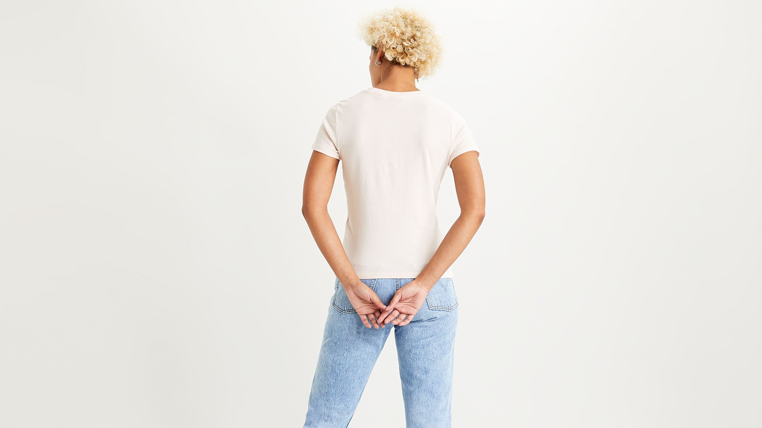 Ss Rib Baby Tee Peach Blush Beyaz Kadın Tişört