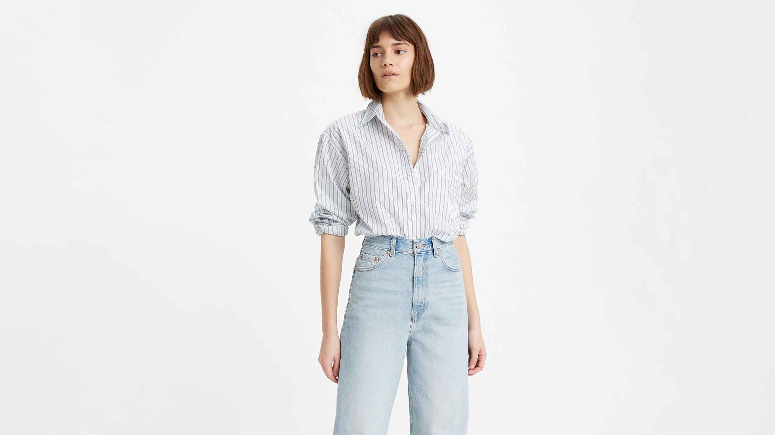The Dad Shirt W/ Pocket Amaris Stripe Çok renkli Kadın Gömlek