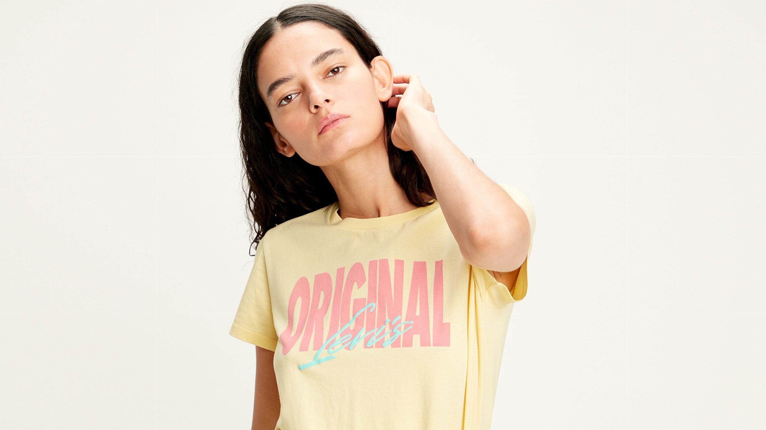 The Perfect Tee Original Pale Sarı Kadın Tişört