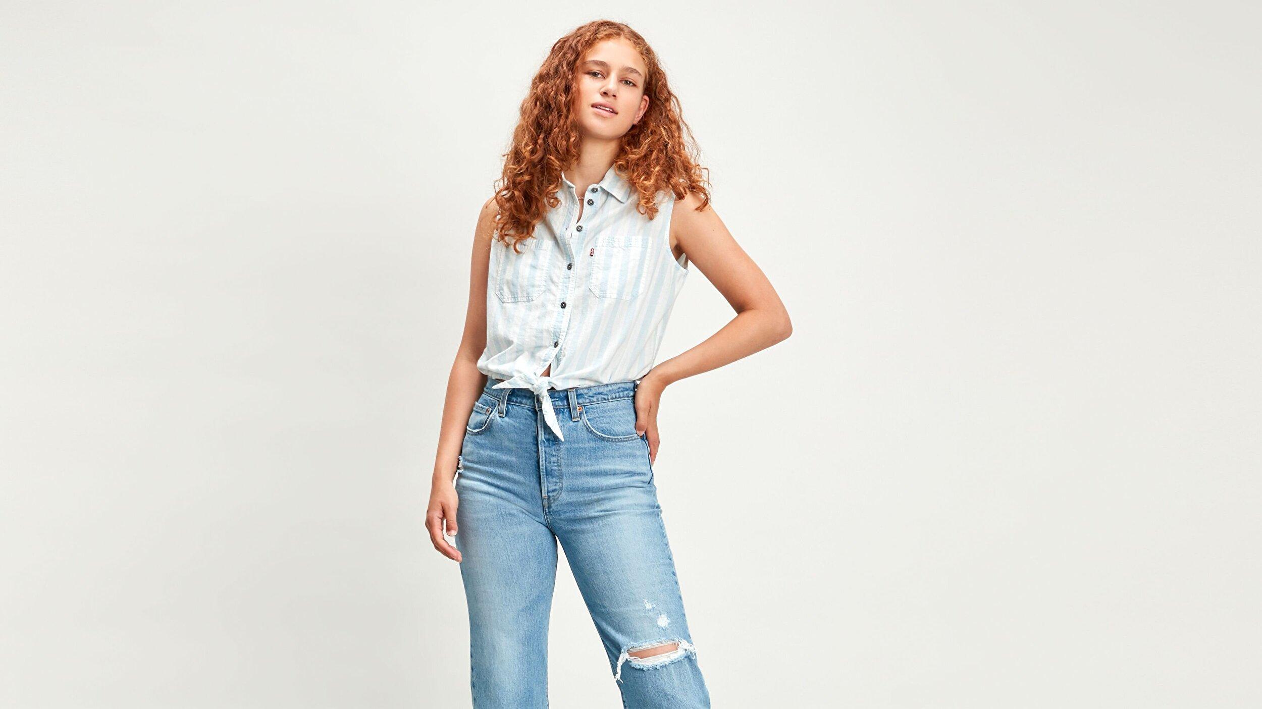 Alina Tie Shirt Amber Stripe Mavi Kadın Gömlek