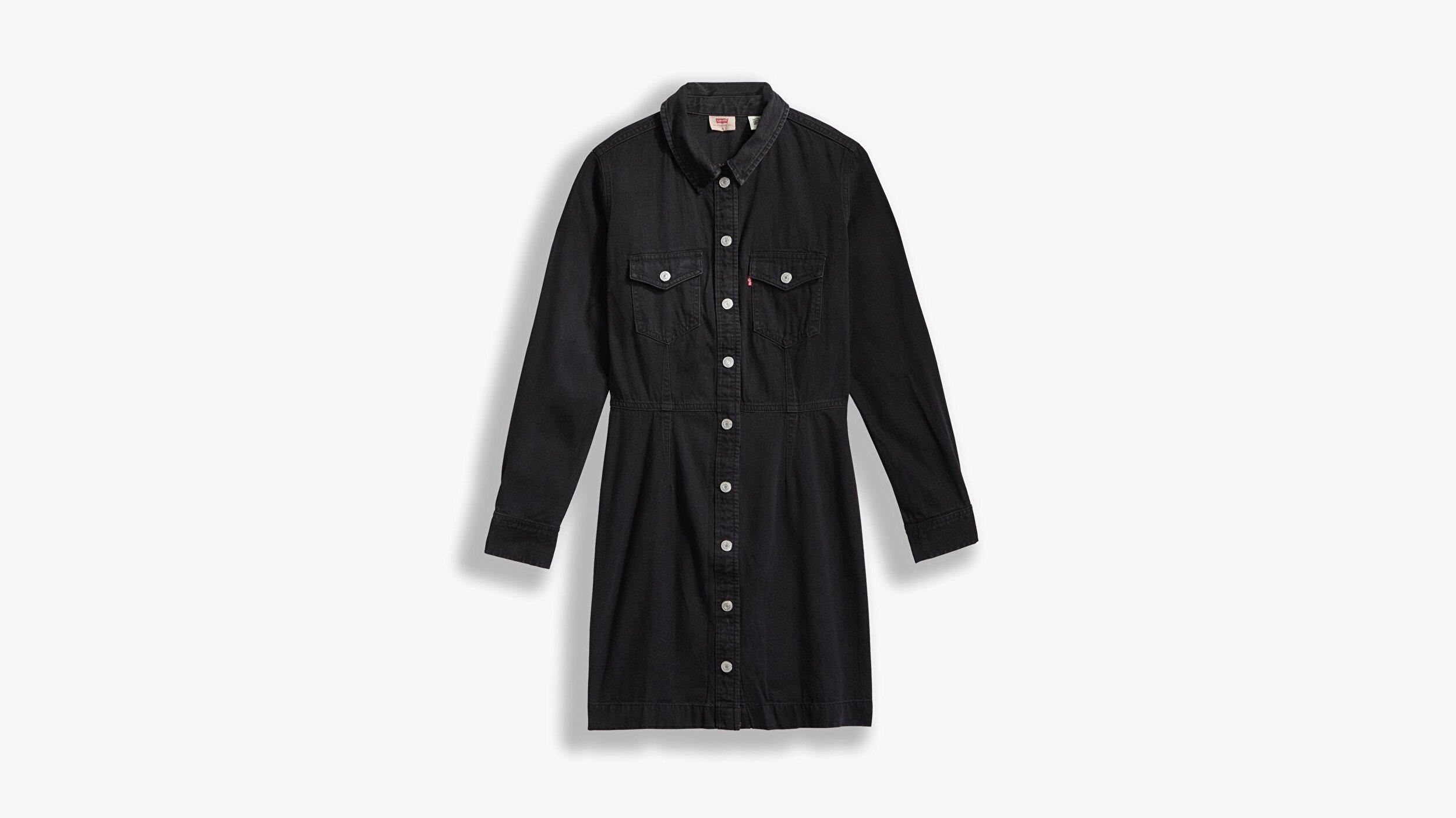 Ellie Denim Dress  Siyah Kadın Elbise