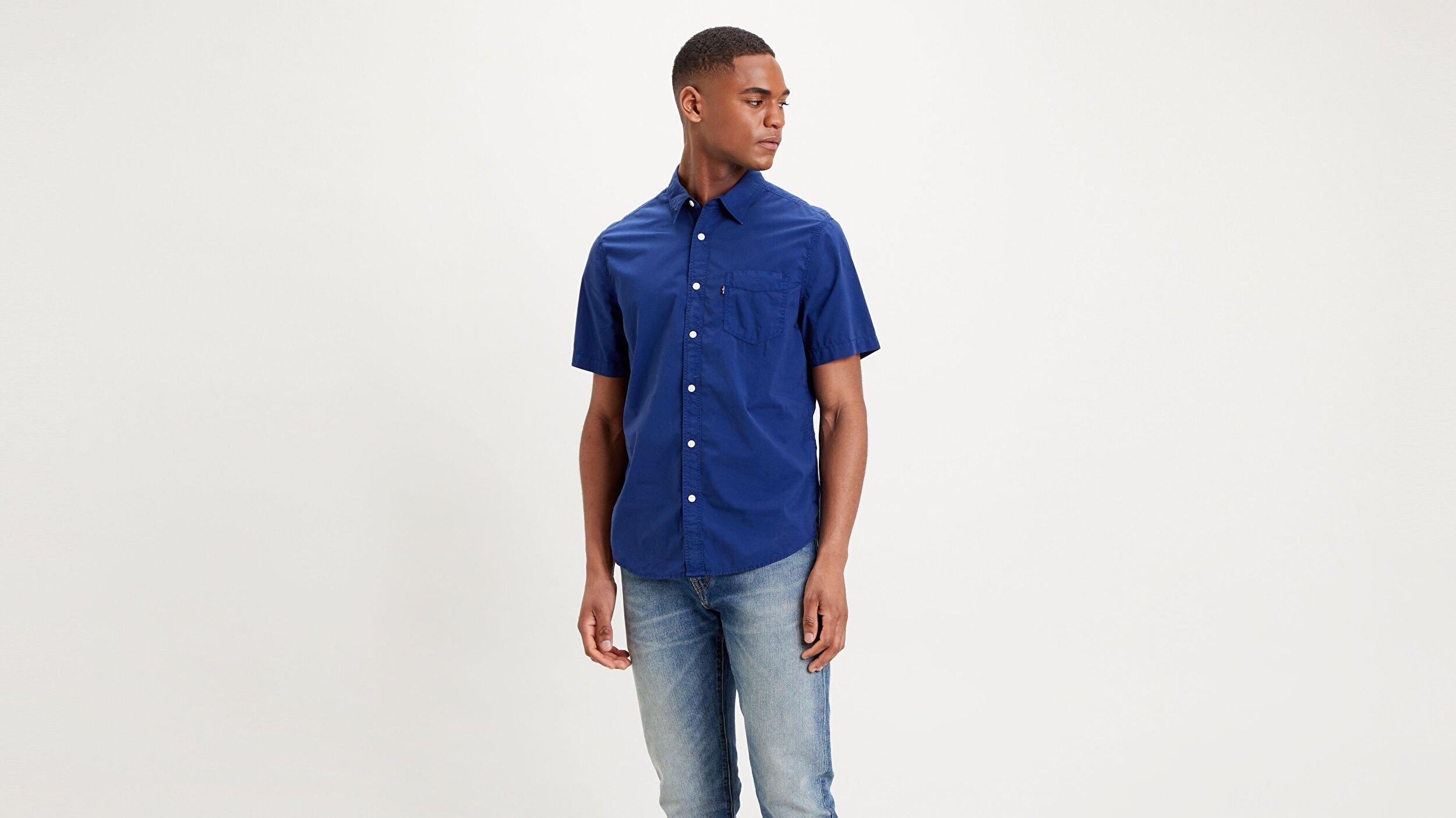 S/S Sunset 1 Pkt Standrd Garment Dye Mavi Erkek Gömlek