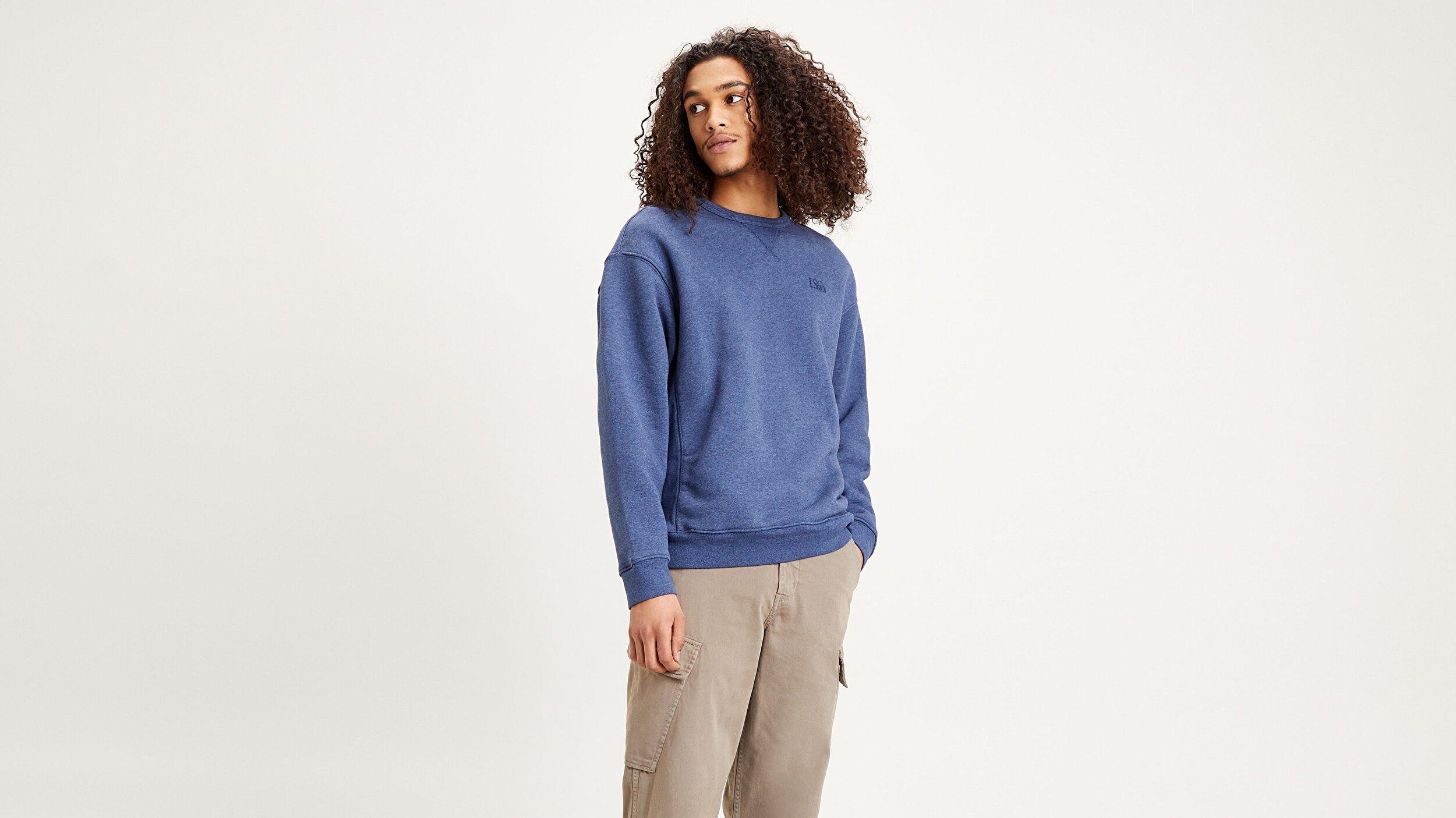 Premium Heavyweight Crew  Mavi Erkek Sweatshirt