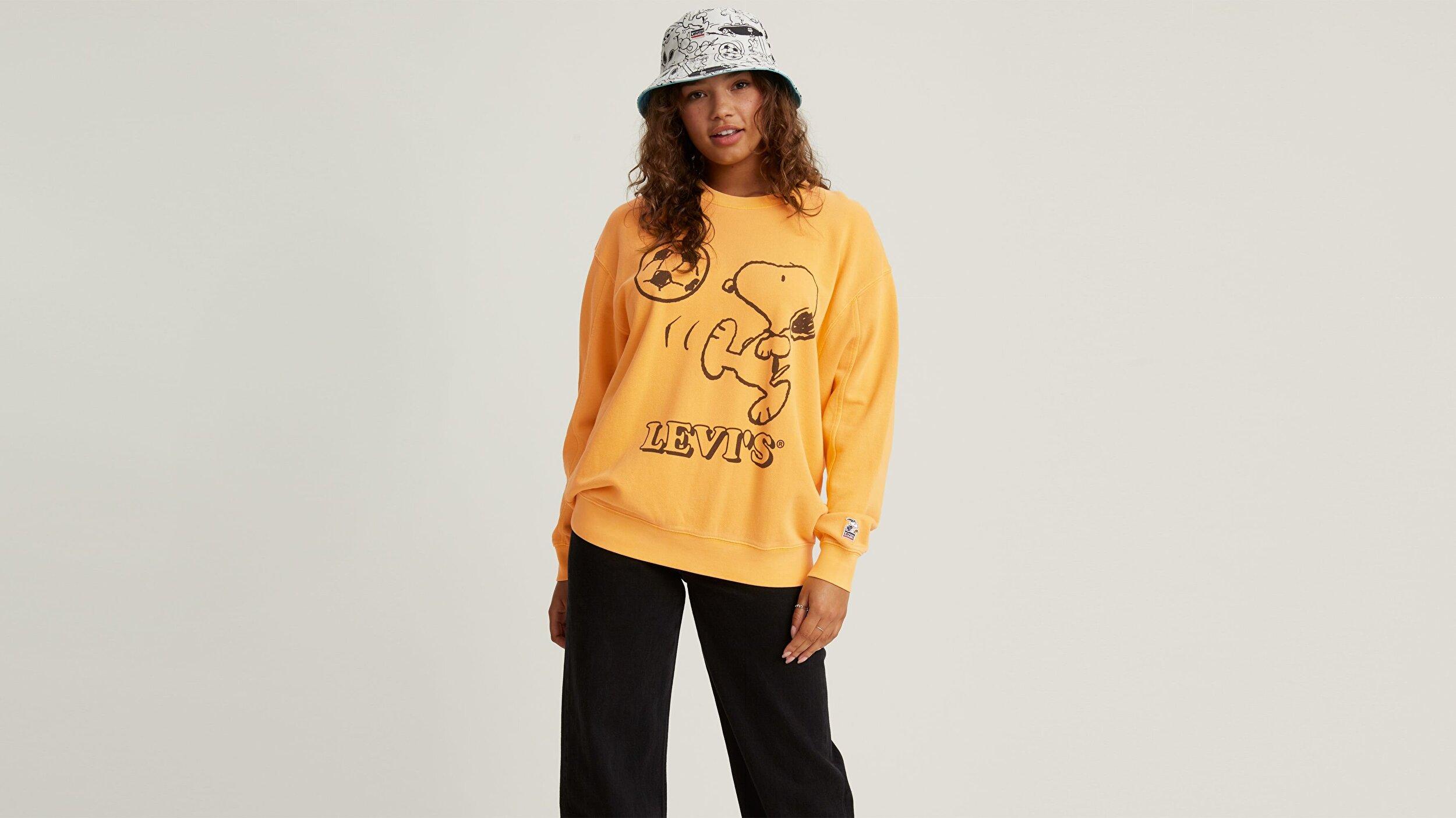 Unbasic Crew Sweatshirt Snoopy Soccer Sarı/Turuncu Kadın Sweatshirt