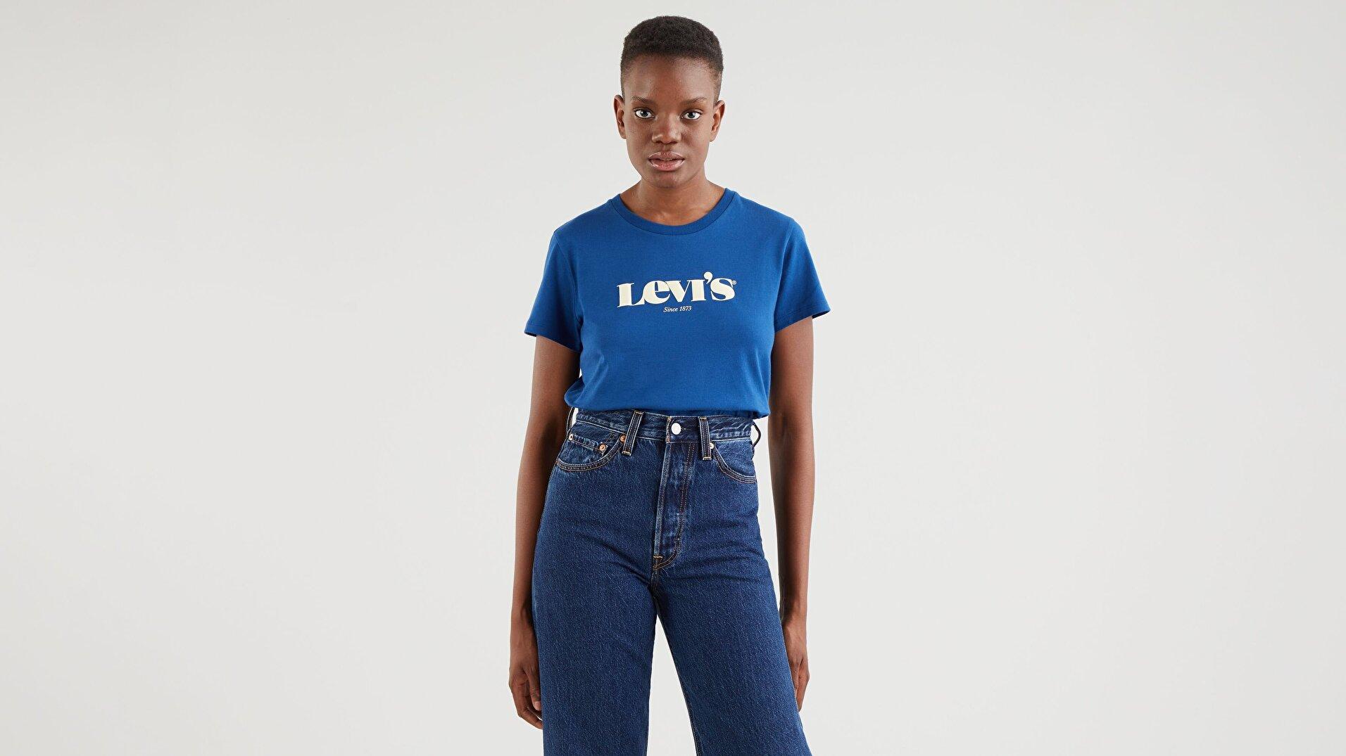 The Perfect Tee New Logo Estate Mavi Kadın Tişört
