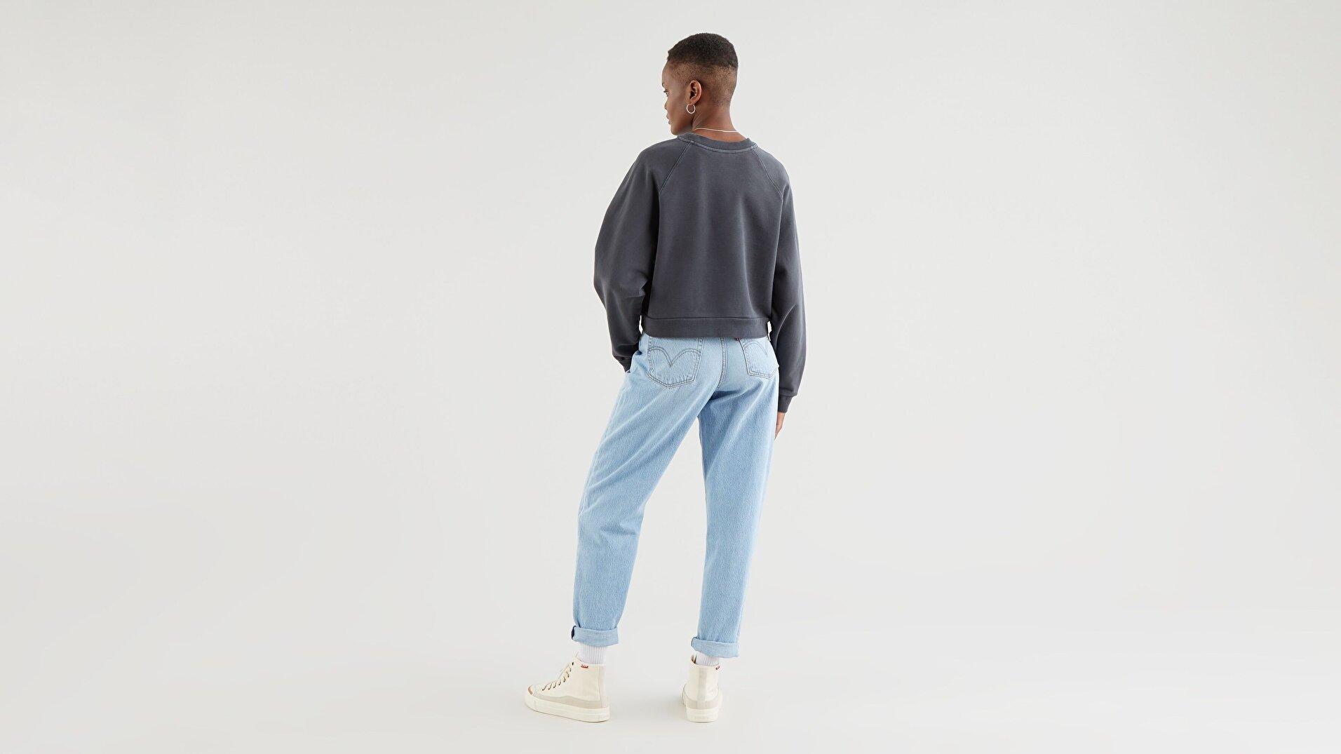 Vintage Raglan Crew İnci Siyahı Kadın Sweatshirt