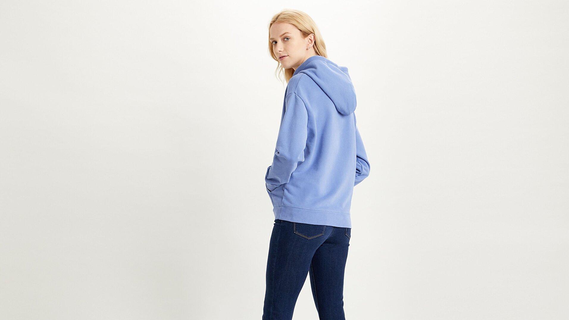 Standard Graphic Kadın Mavi Kapüşonlu Sweatshirt