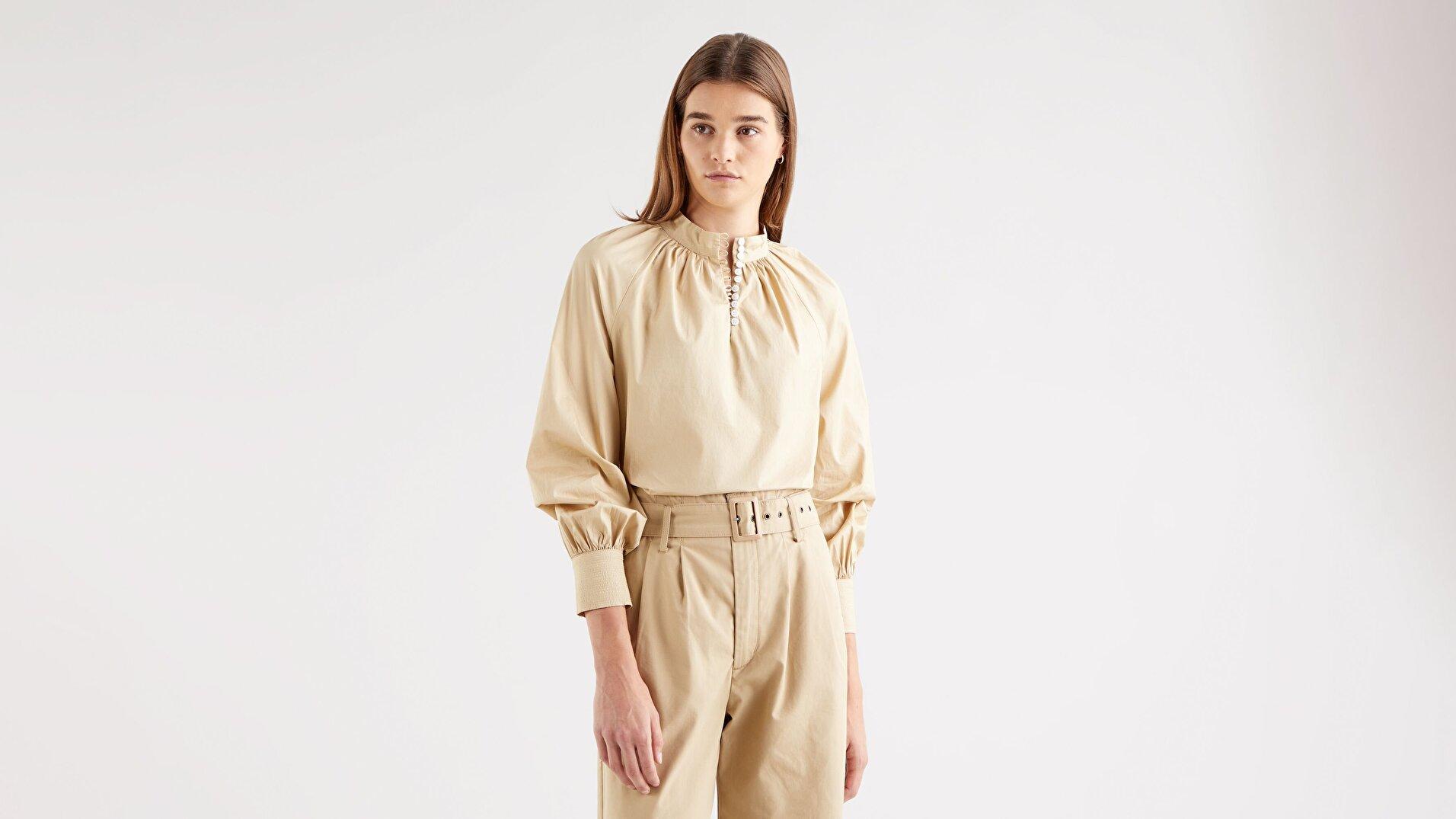 Gillian Mock Neck Kadın Uzun Kollu Bej Gömlek