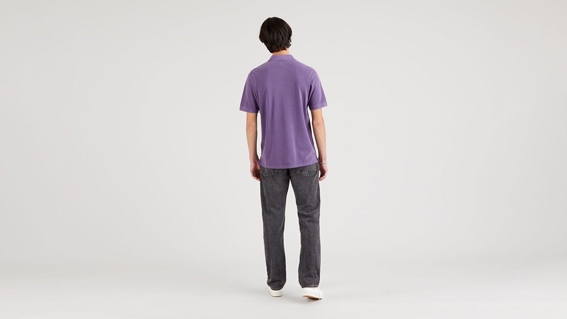 New Authentic Polo Loganberry Garment Dye Erkek Mavi Polo Tişört