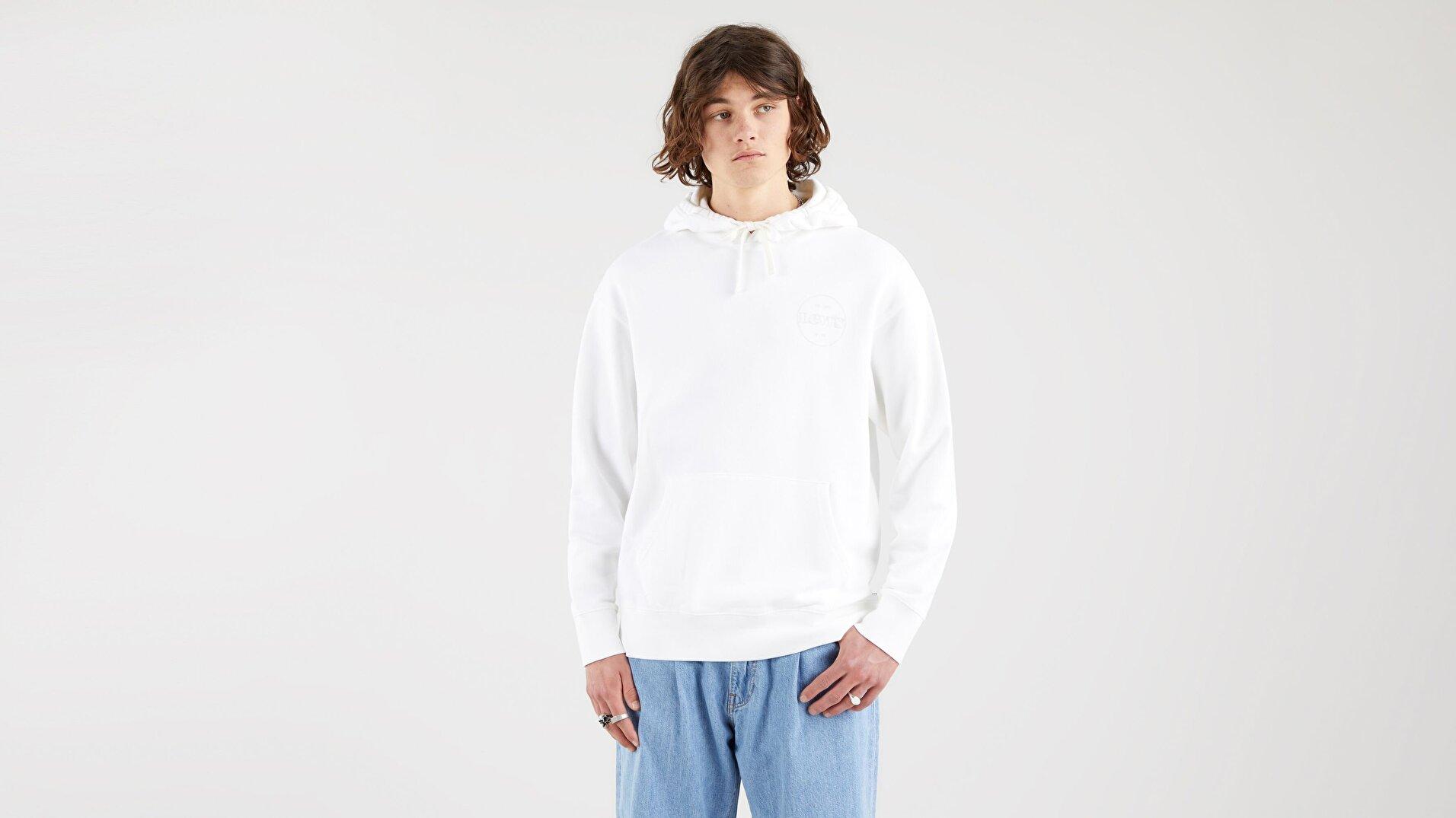 Relaxed Fit Logo Hoodie White + Sarı  Erkek Sweatshirt