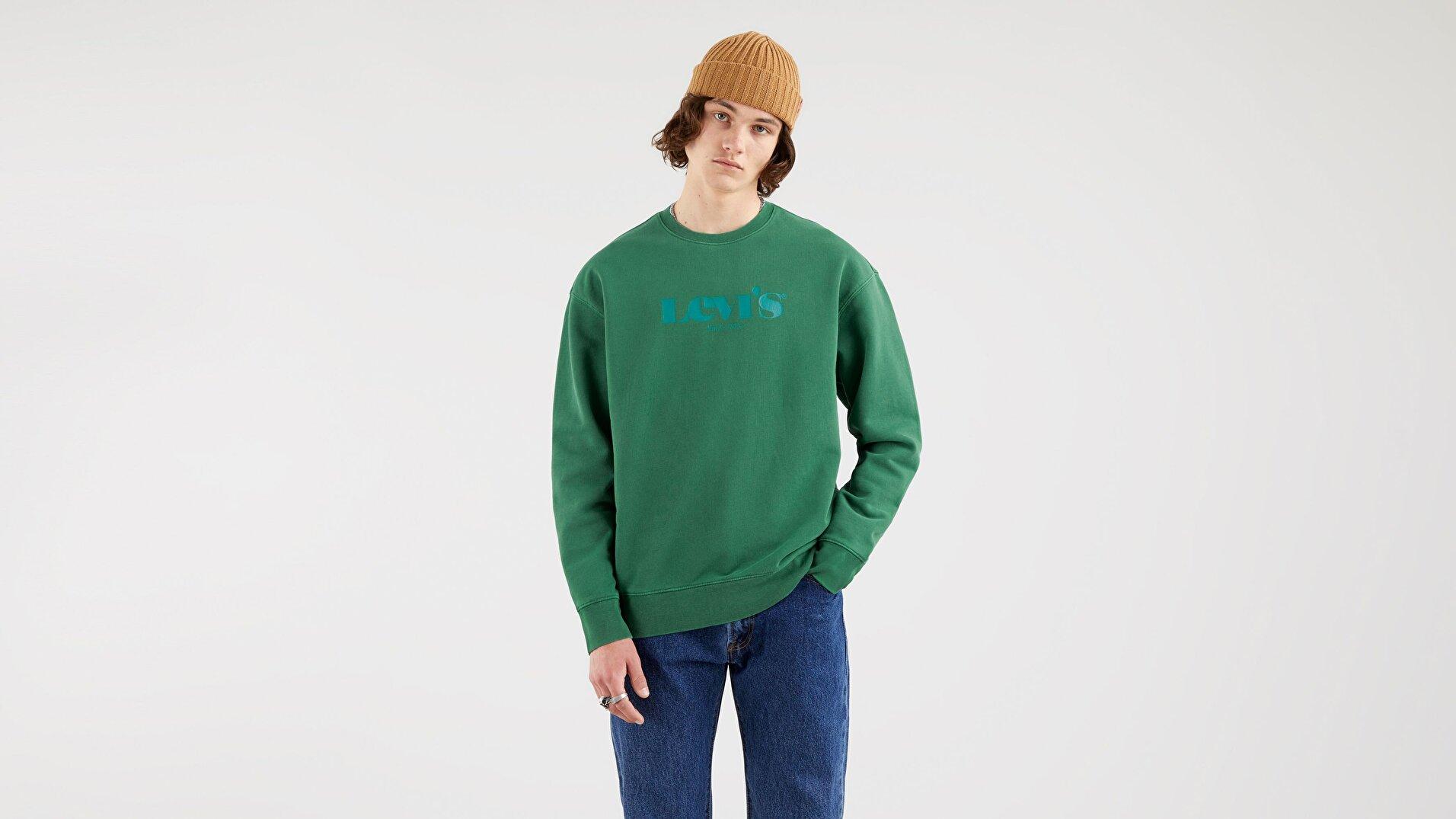Relaxed Graphic Crew Neck Erkek Yeşil Sweatshirt
