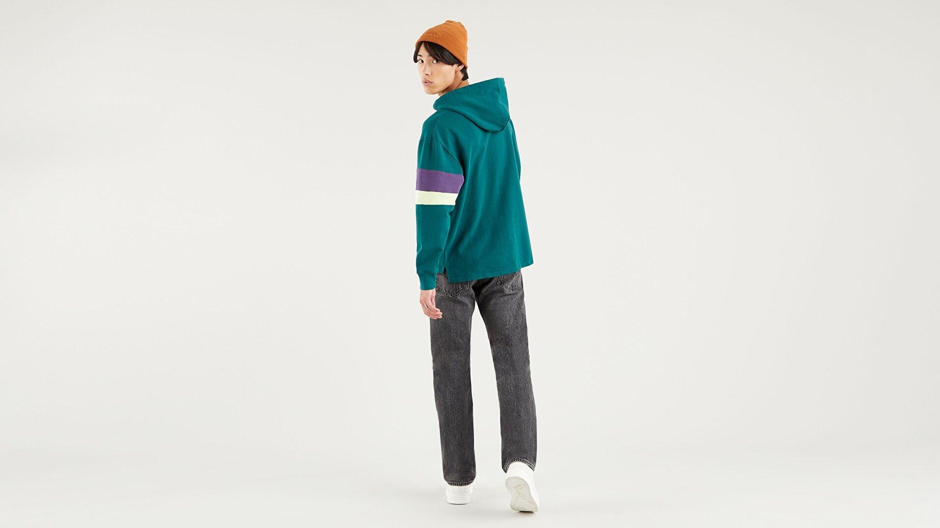 Blocked Open Hem Hoodie Color Block Forest Orta Mavi Erkek Sweatshirt