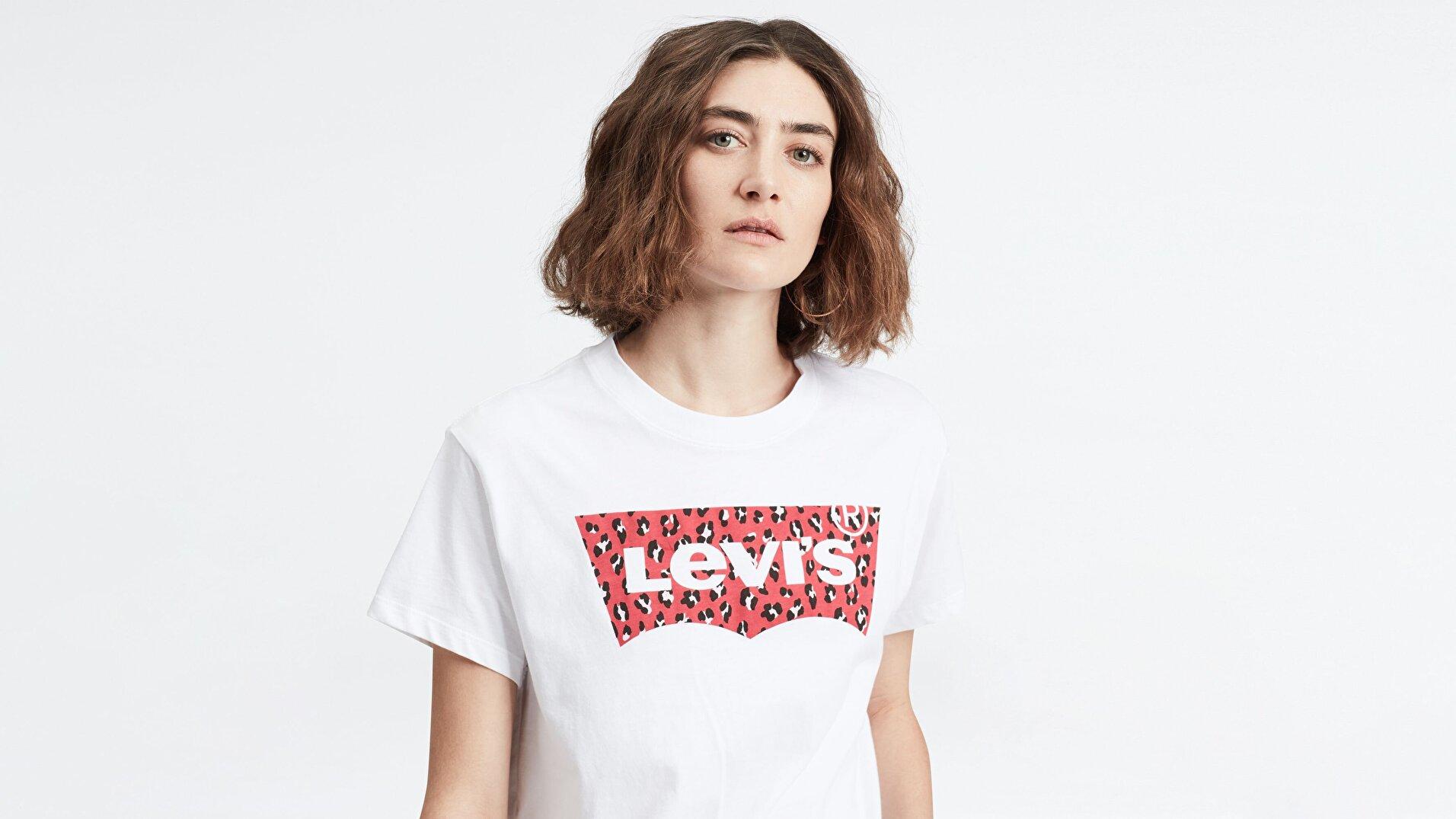 Graphic Varsity Tee Hsmk Leopard Beyaz Kadın Tişört