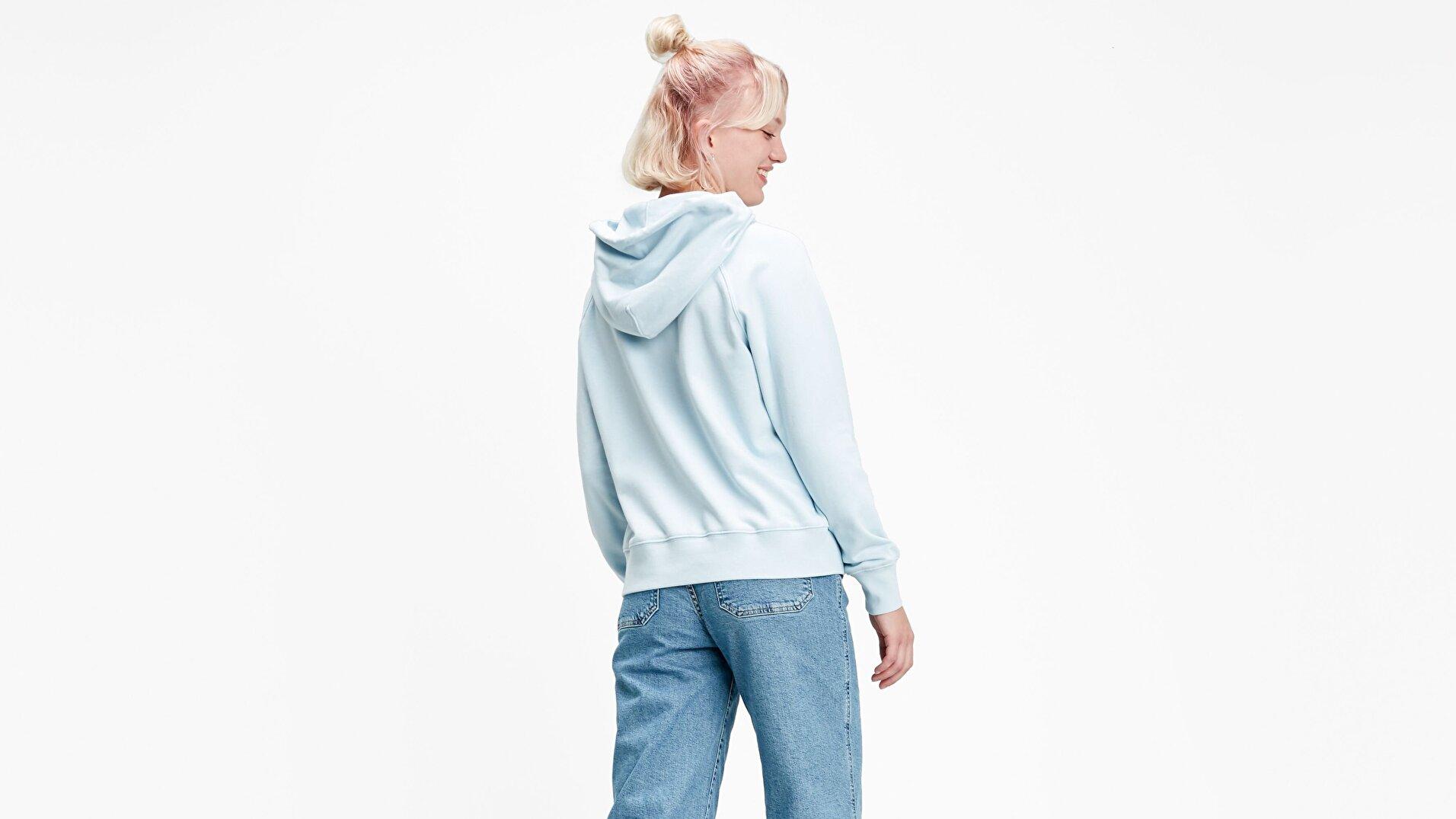 Graphic Sport Hoodie Hoodie Box Mavi Kadın Kapüşonlu Sweatshirt