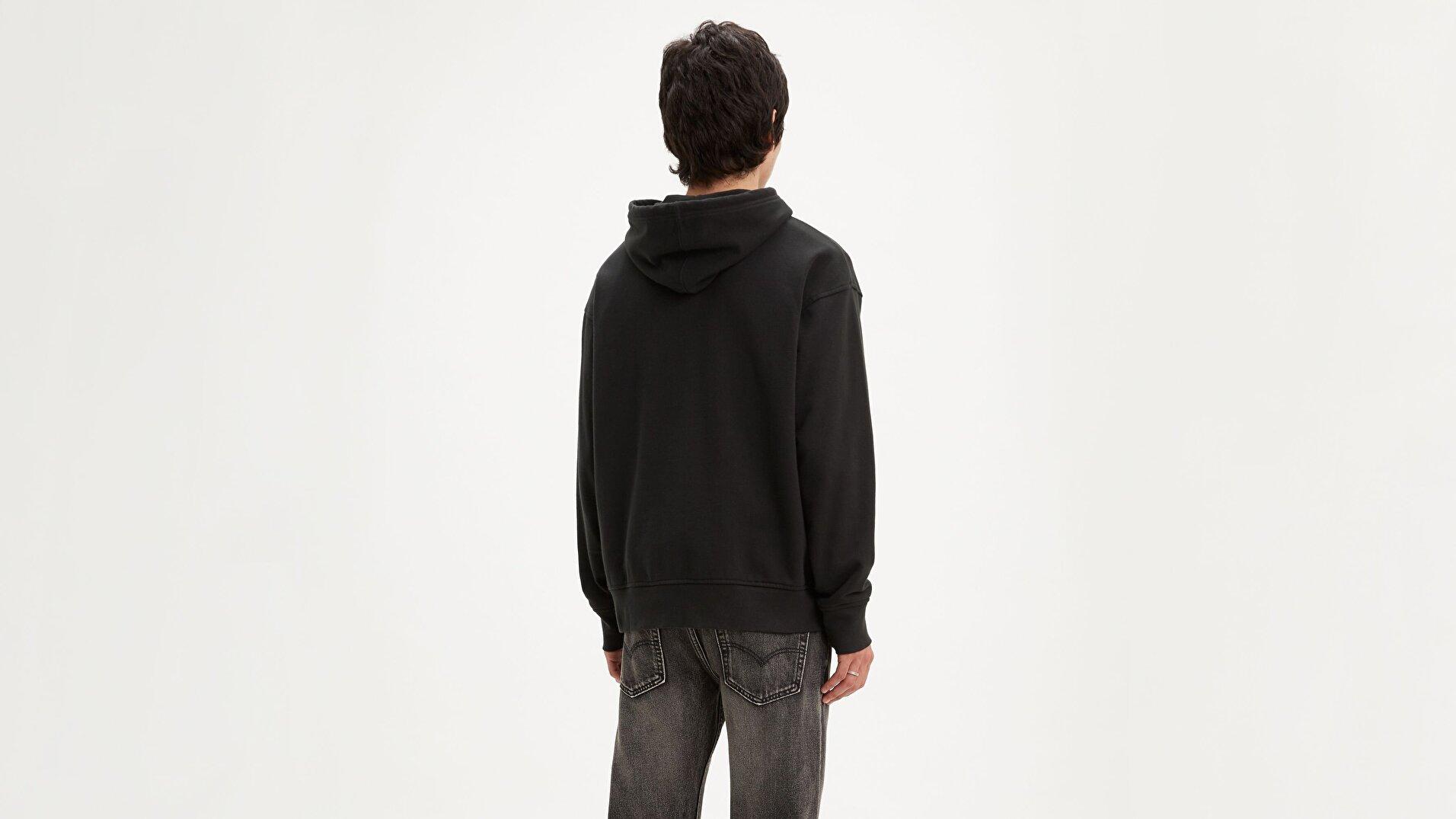 Relaxed Graphic Hoodie Boxtab Po Siyah Erkek Kapüşonlu Sweatshirt