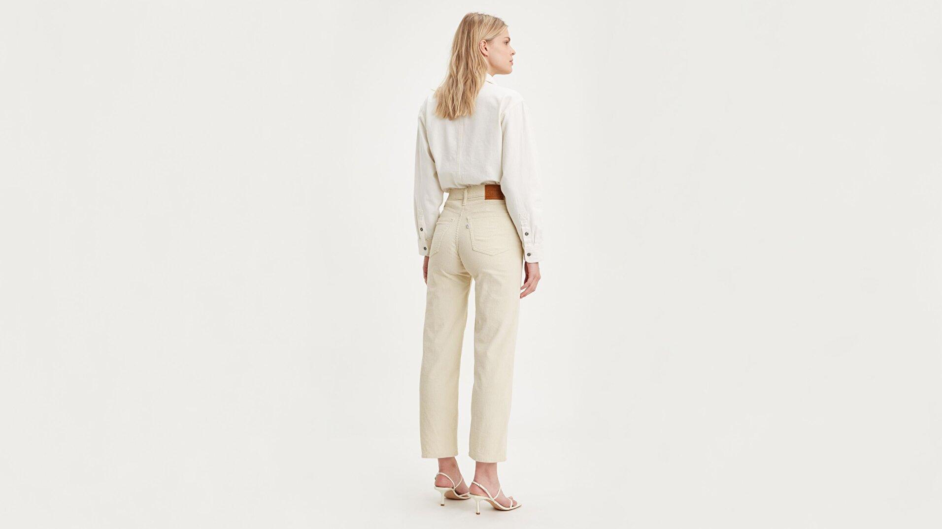 Ribcage Straight Ankle Kadın Jean Pantolon-Ecru Wide Wale