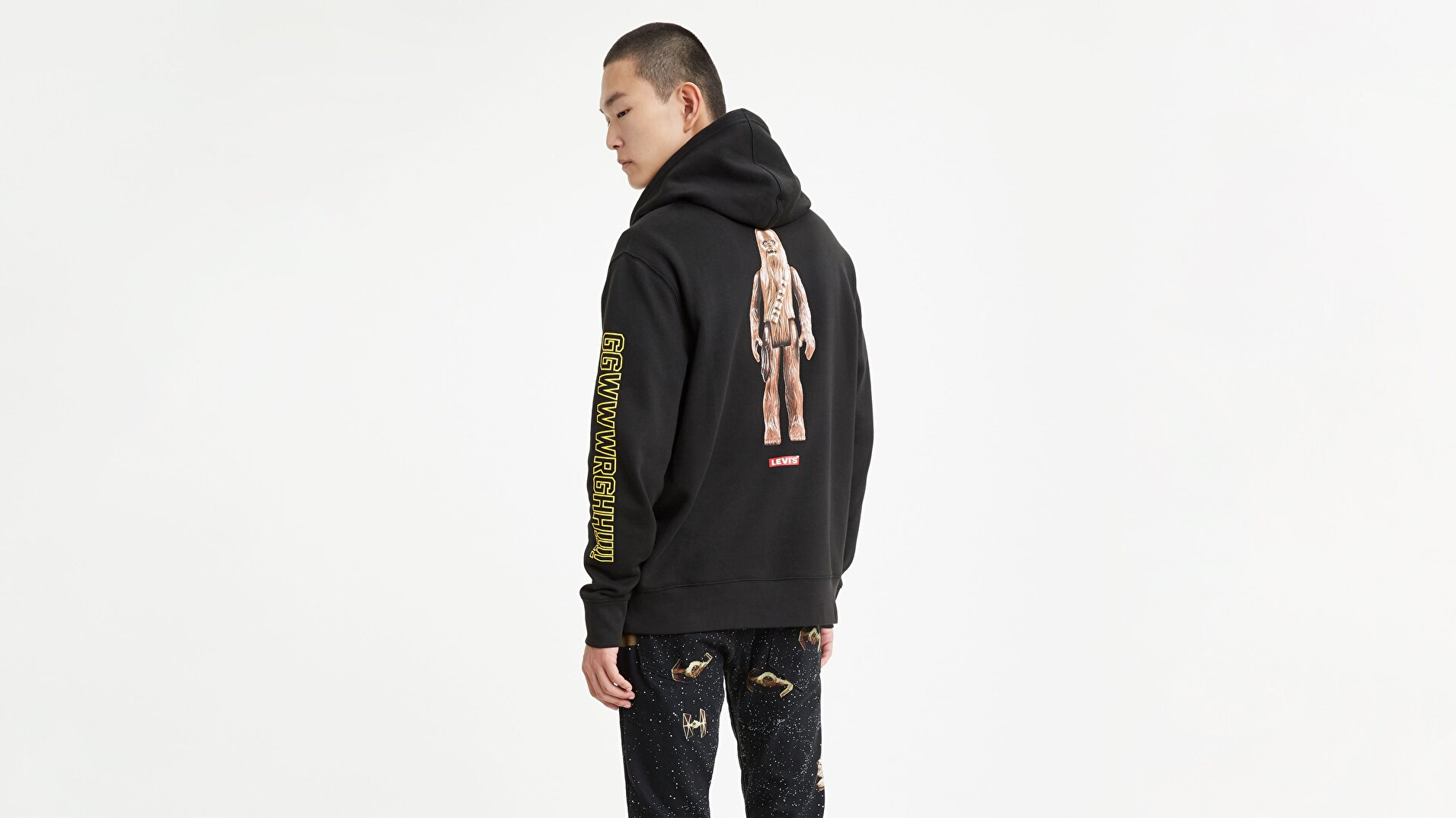 Graphic Po Hoodie- B T2 Chewbacca Siyah Erkek Kapüşonlu Sweatshirt