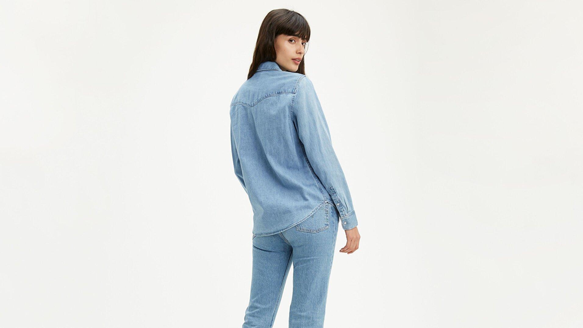 Essential Western Cool Açık İndigo Kadın Gömlek