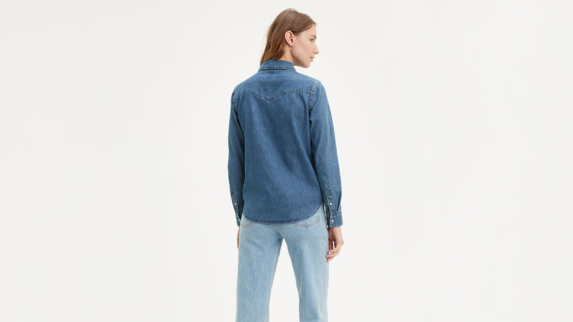 Essential Western Going İndigo Kadın Gömlek