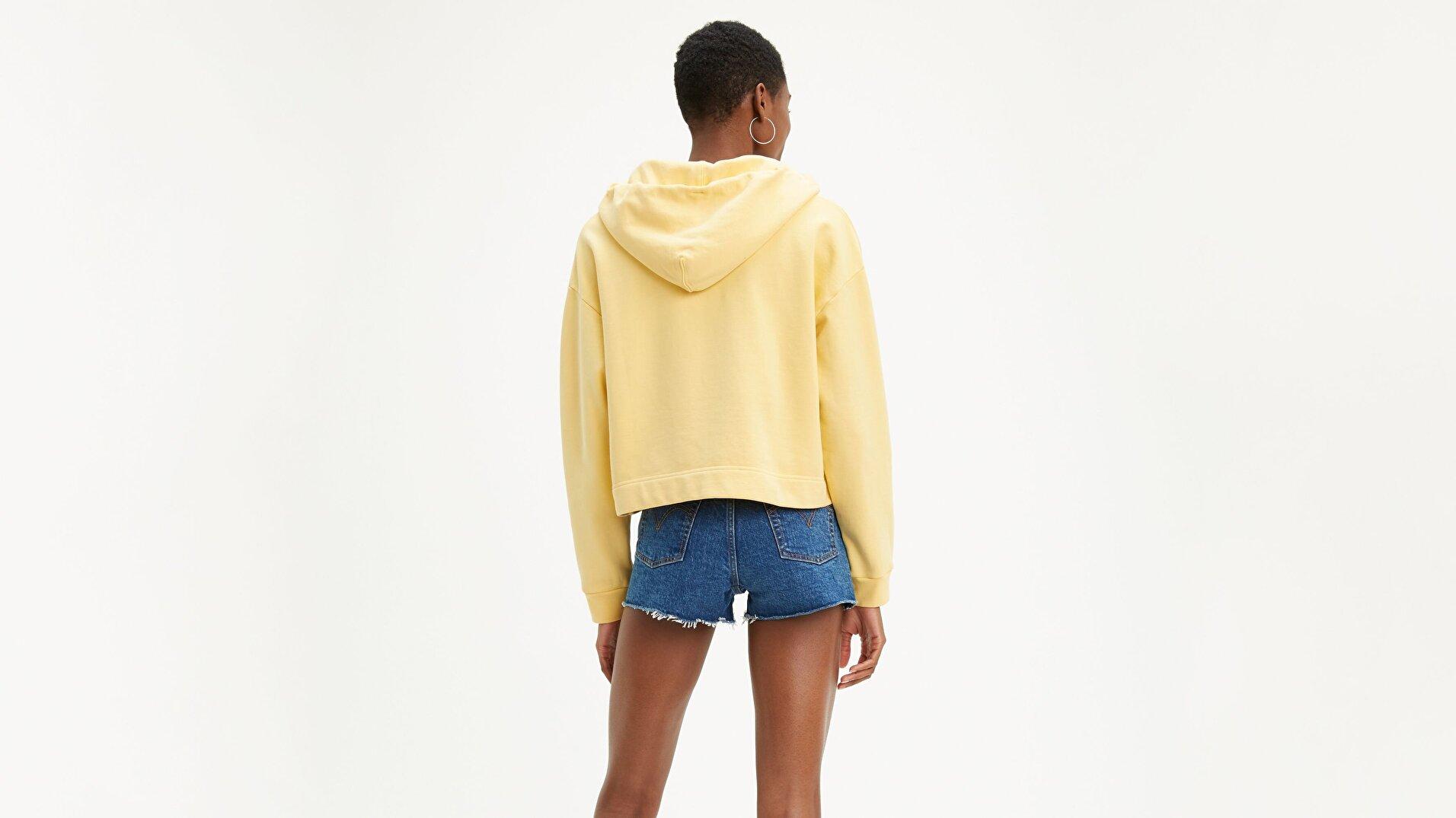 Graphic Zip Skate Hoodie Crop Zip sarı Kadın Kapüşonlu Sweatshirt