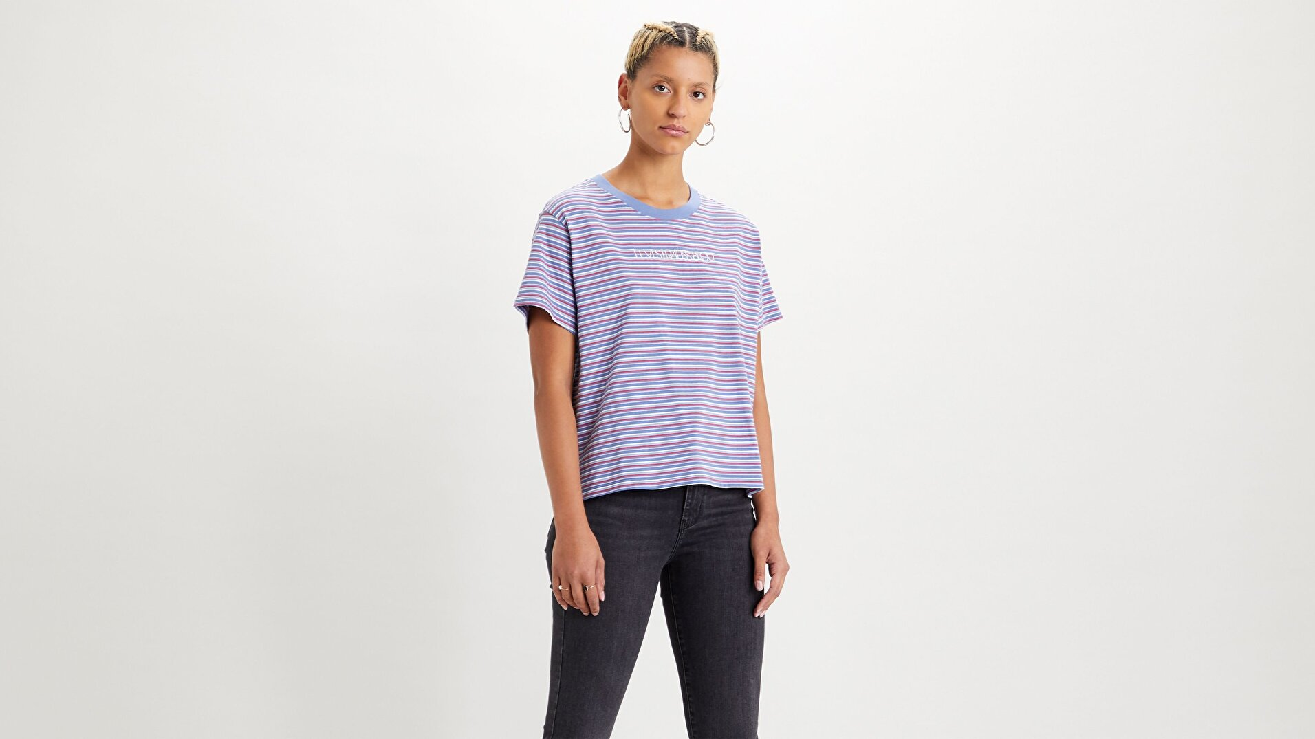 Graphic Varsity Tee Pearl Colony Mavi Kadın Tişört