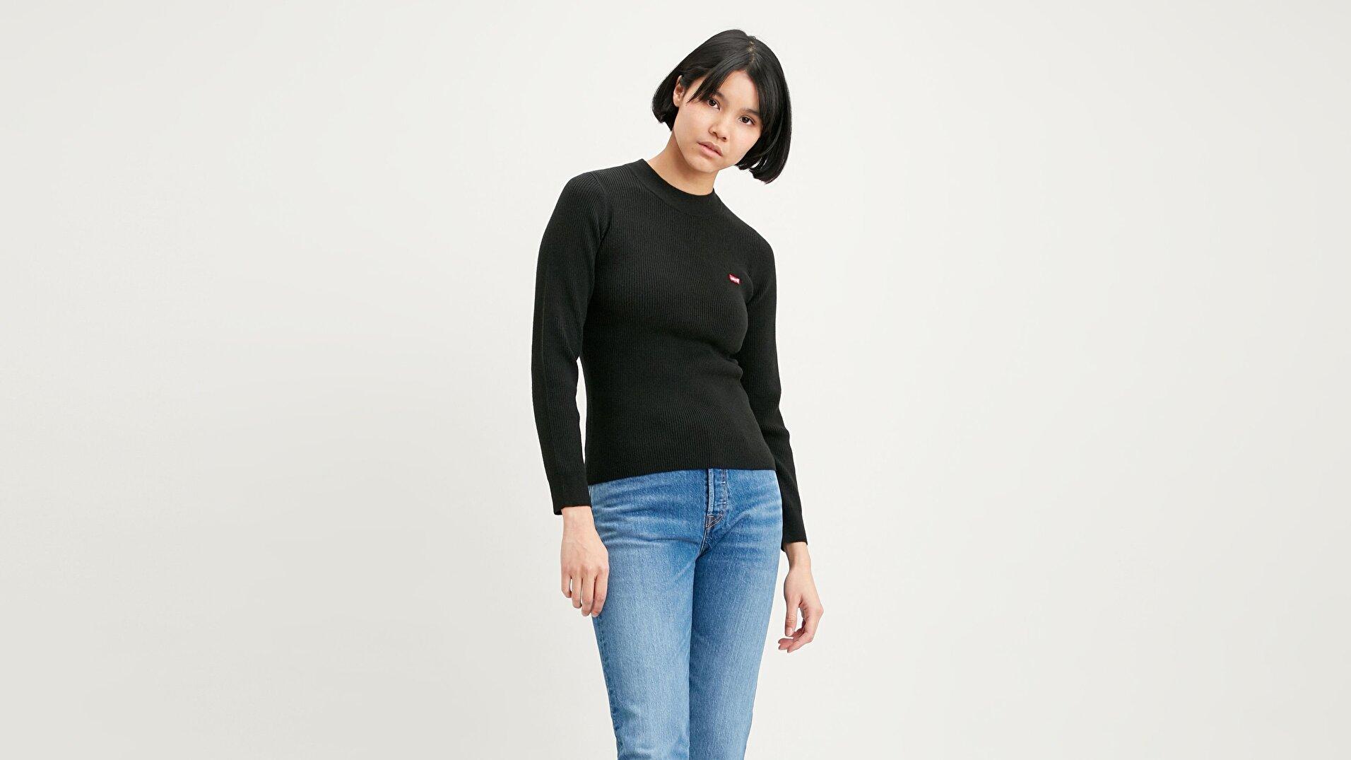 Crew Rib Sweater Caviar Siyah Kadın Kazak