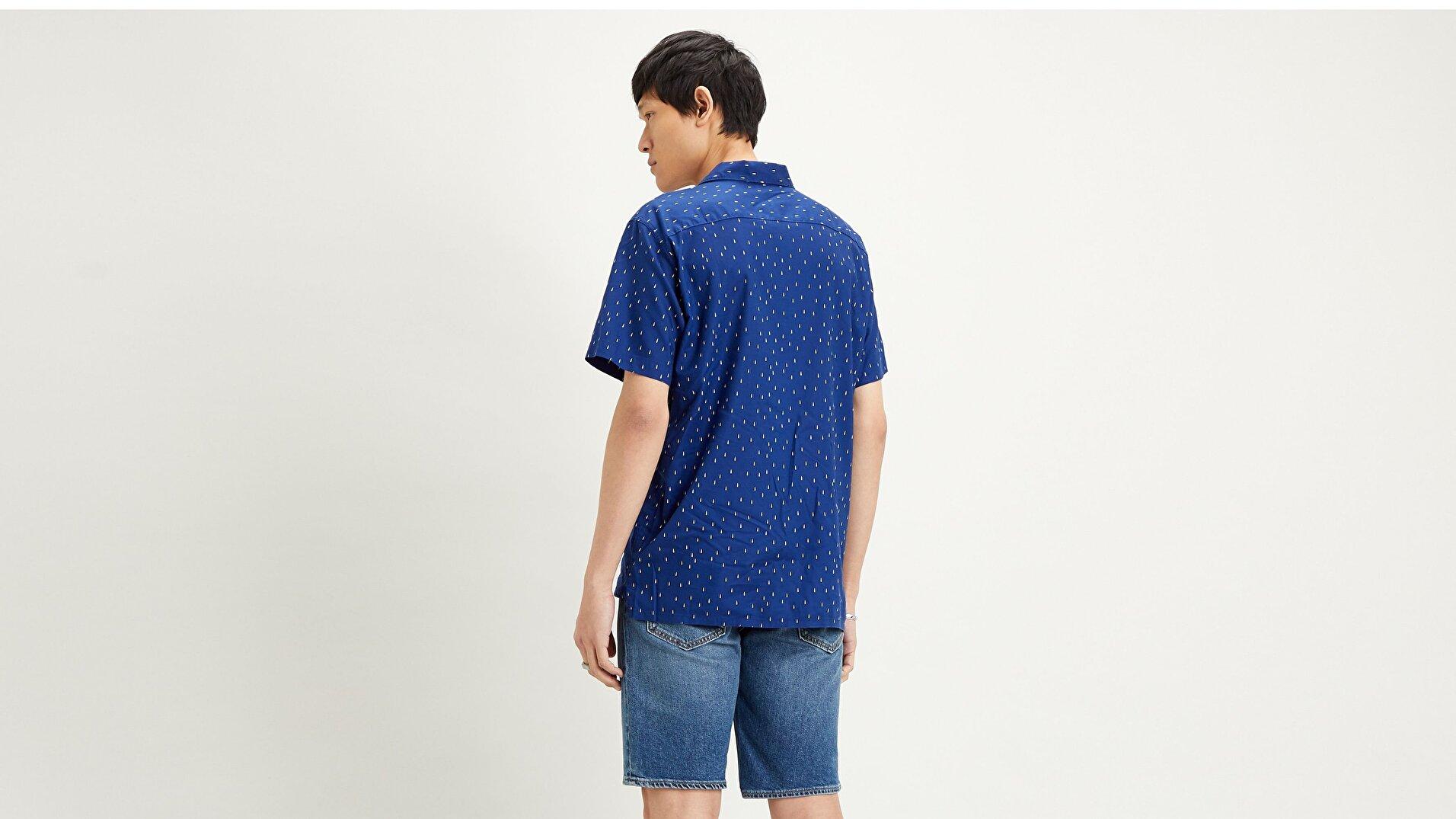 S/S Classic Camper Raindrop Mavi Erkek Gömlek