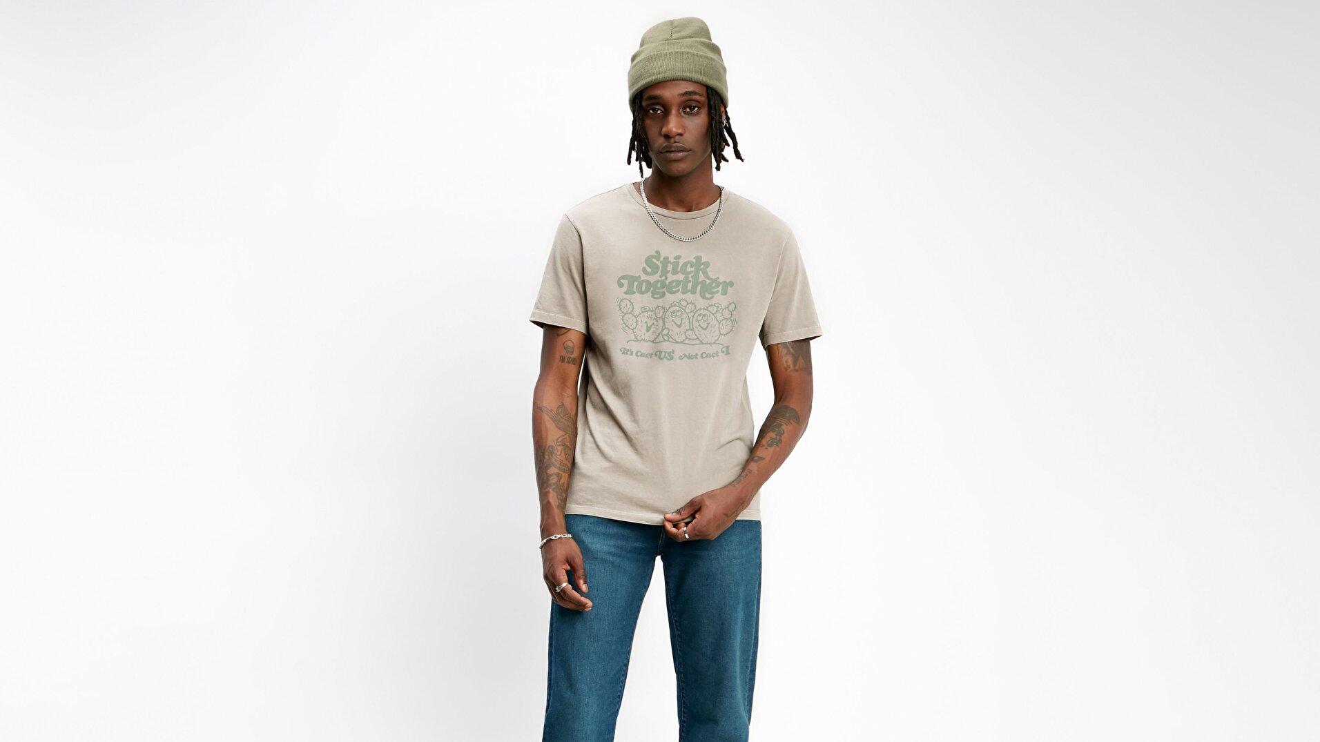 Graphic Crewneck Tee Bi Cacti Beyaz Erkek Tişört